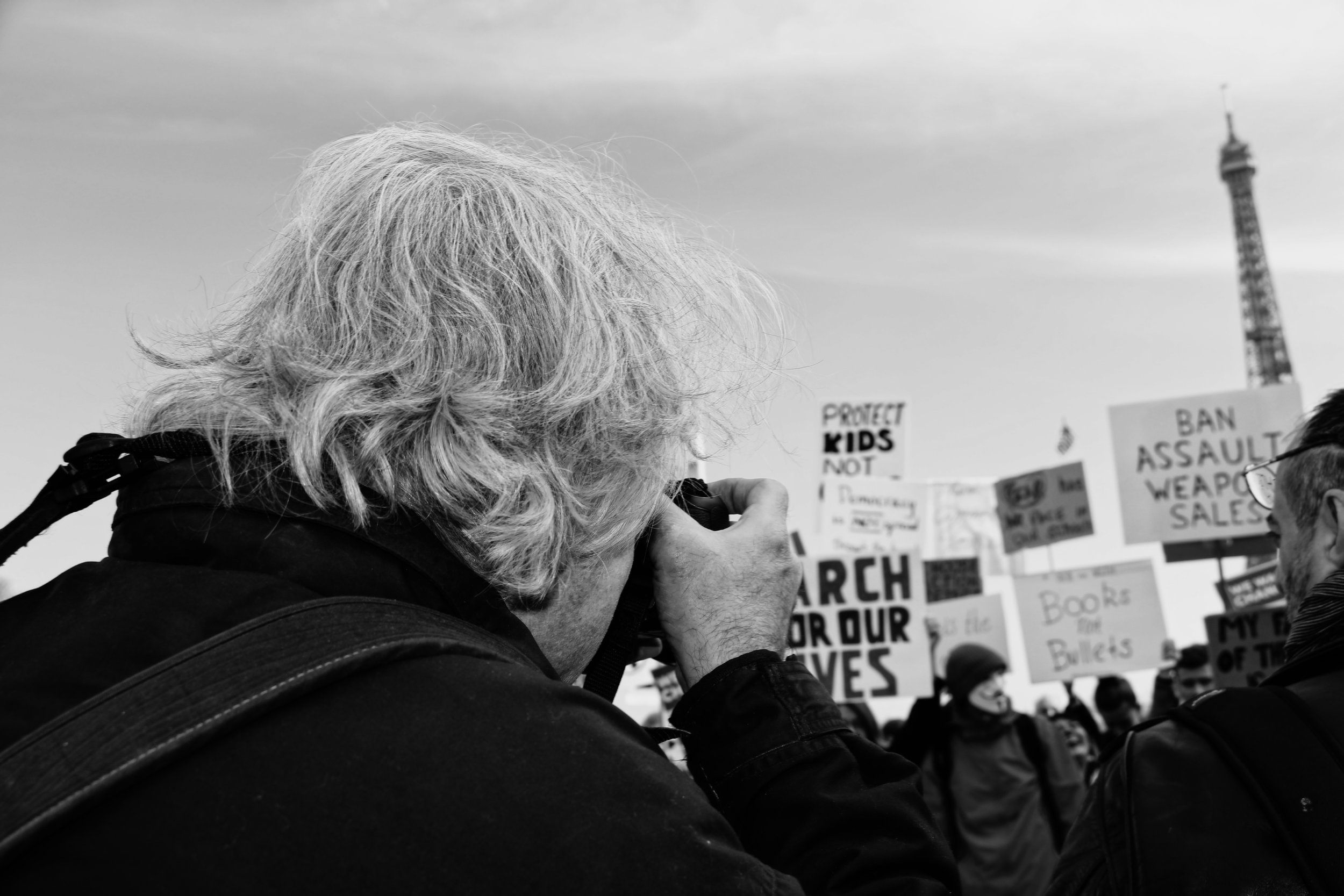 Richard Kalvar shooting at March for Our Lives in Paris, France.