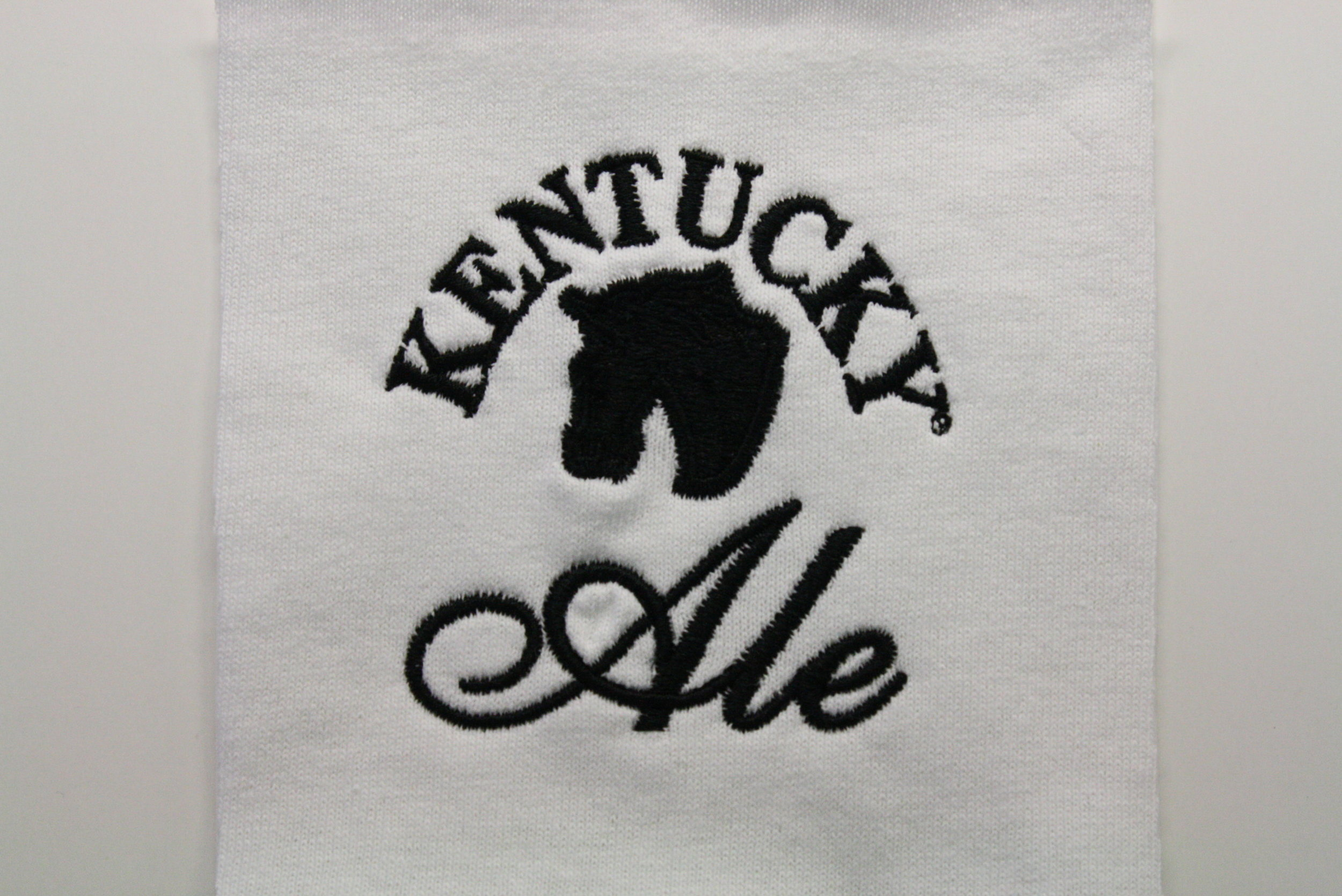Simple and sleek embroidery sample for Kentucky Ale.