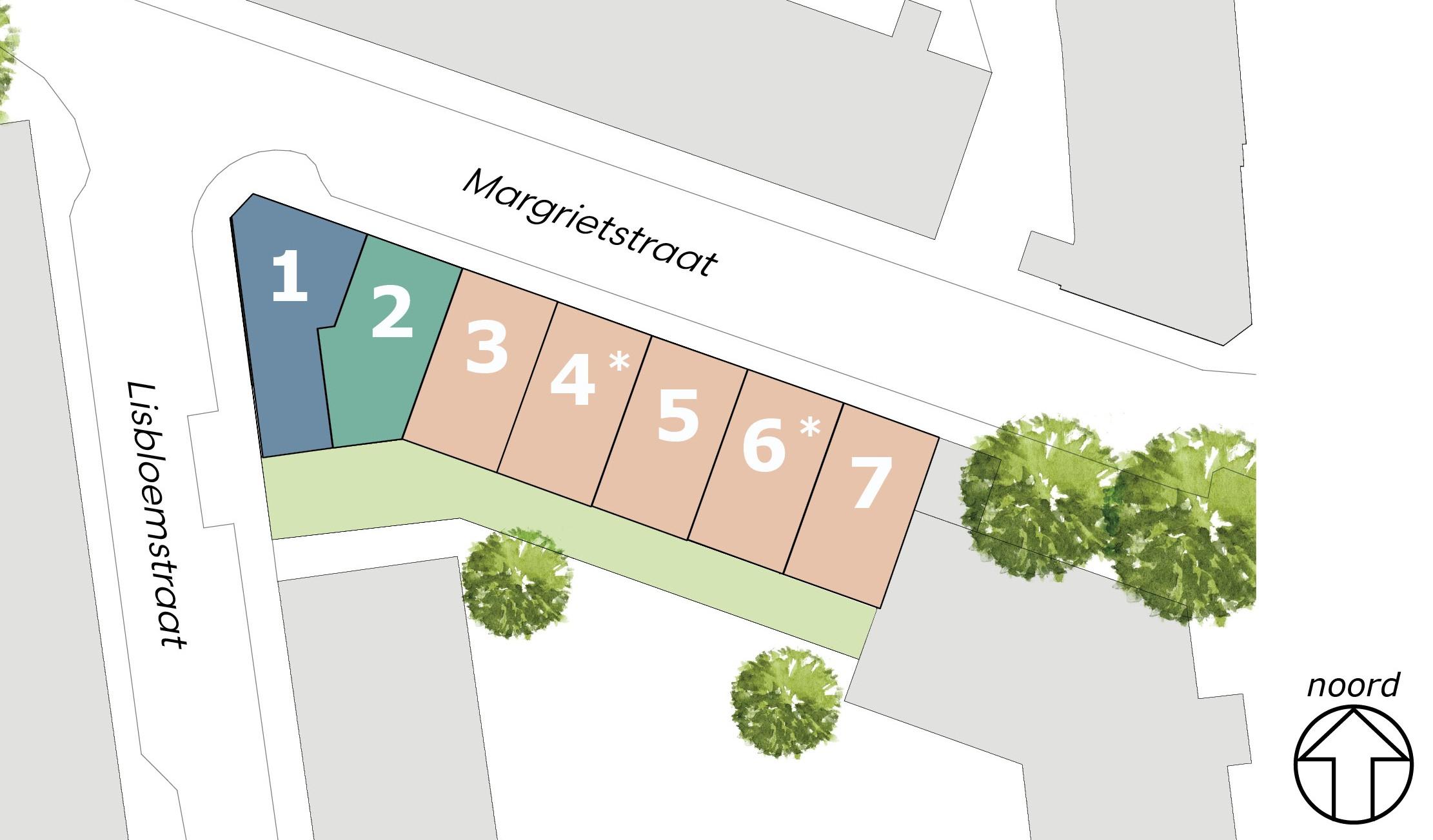 *woning 4 en 6 zijn gespiegeld ten opzichte van de op deze website weergegeven plattegronden