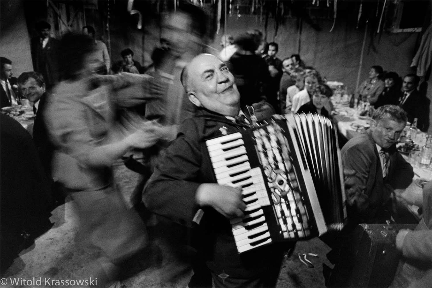 An accordion player during a wedding party in a small village near Tomaszow Lubelski, S-E Poland, 1989