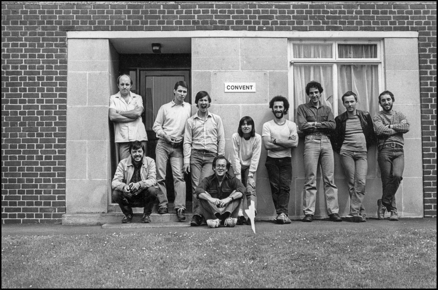 Network's founding members and staff on a retreat, September 1982. Left to right, Barry Lewis, Chris Davies, Laurie Sparham, John Sturrock, Judah Passow, Sue Trangmar (Picture Editor) Mike Abrahams, Mike Goldwater, Martin Slavin (Managing Editor) and Steve Benbow.