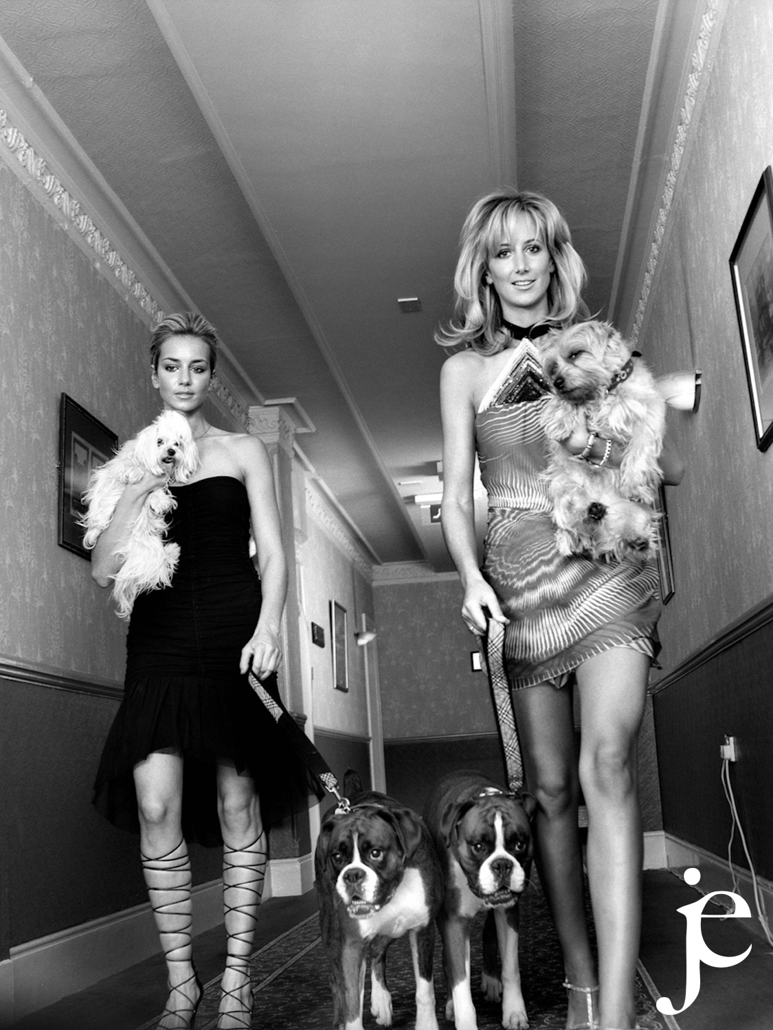 Socialities Lady Isabella and Victoria Hervey and their dogs at the Hotel Russel, London 1992