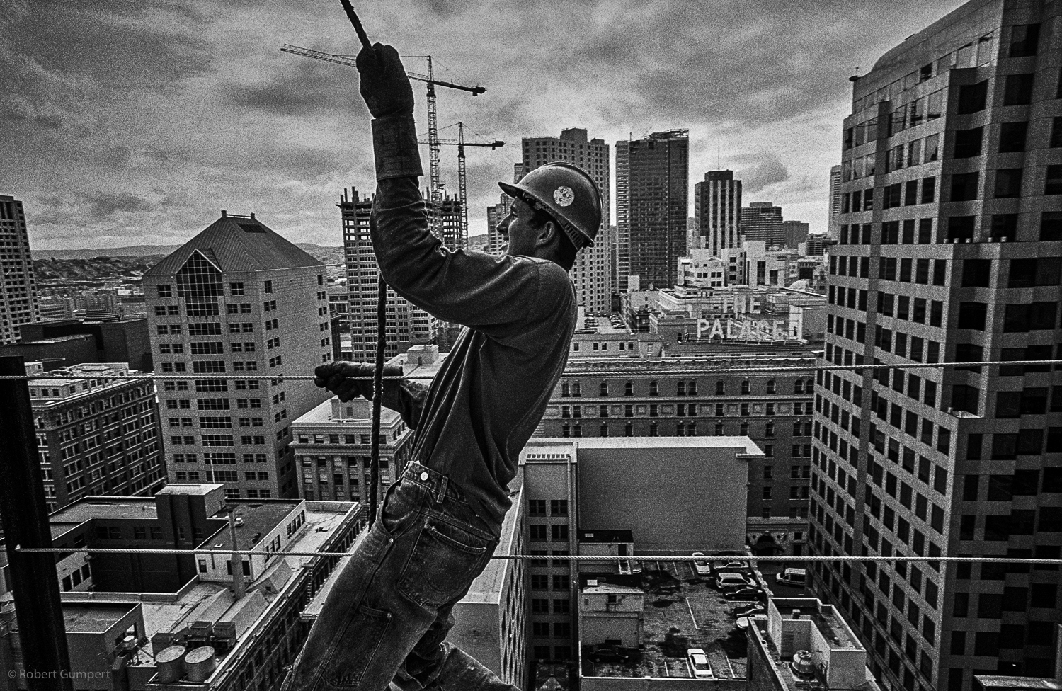 2001: San Francisco, CA.  Iron worker on one of the new building in along Market St.