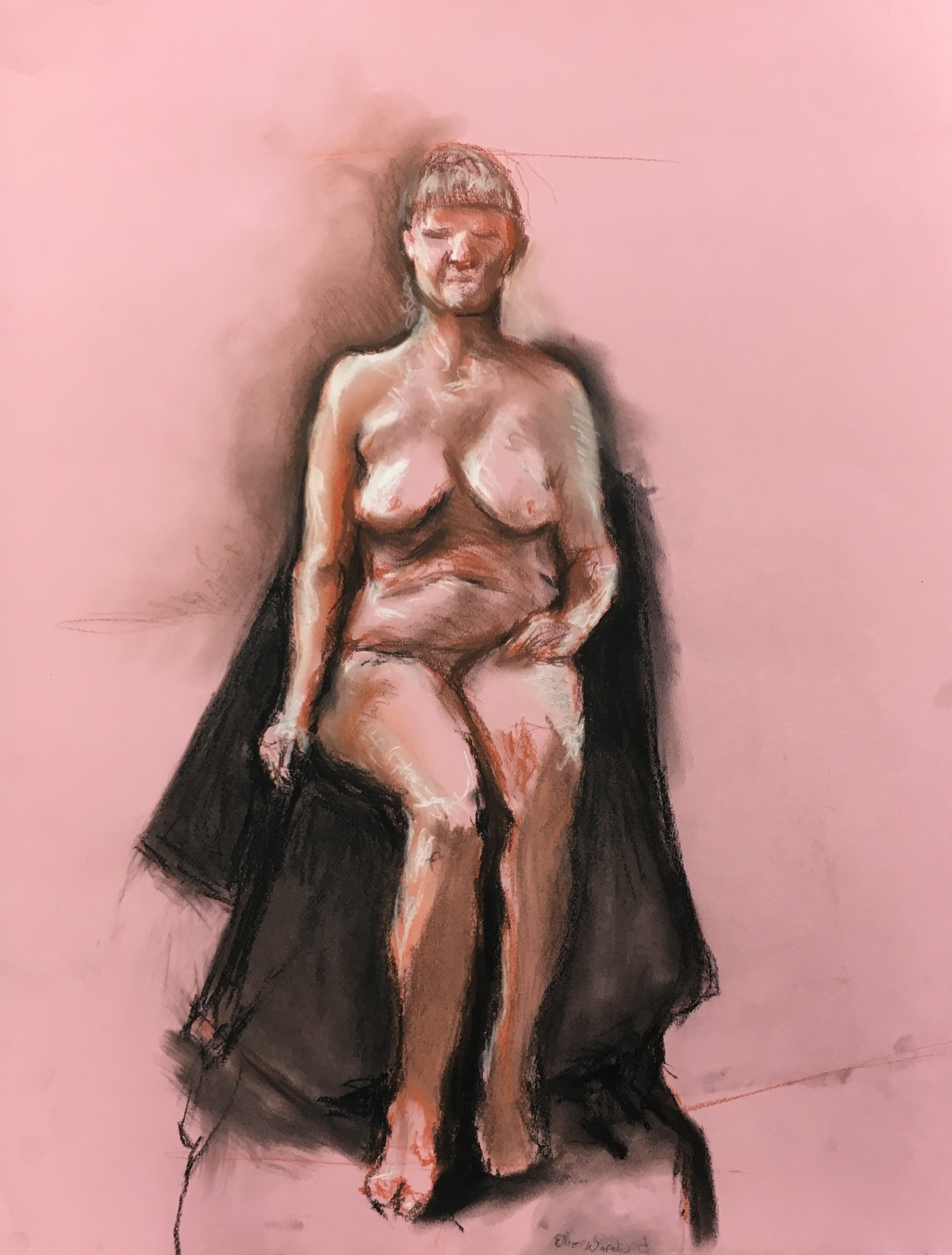 nude, 2017  conté crayon and charcoal on colored paper