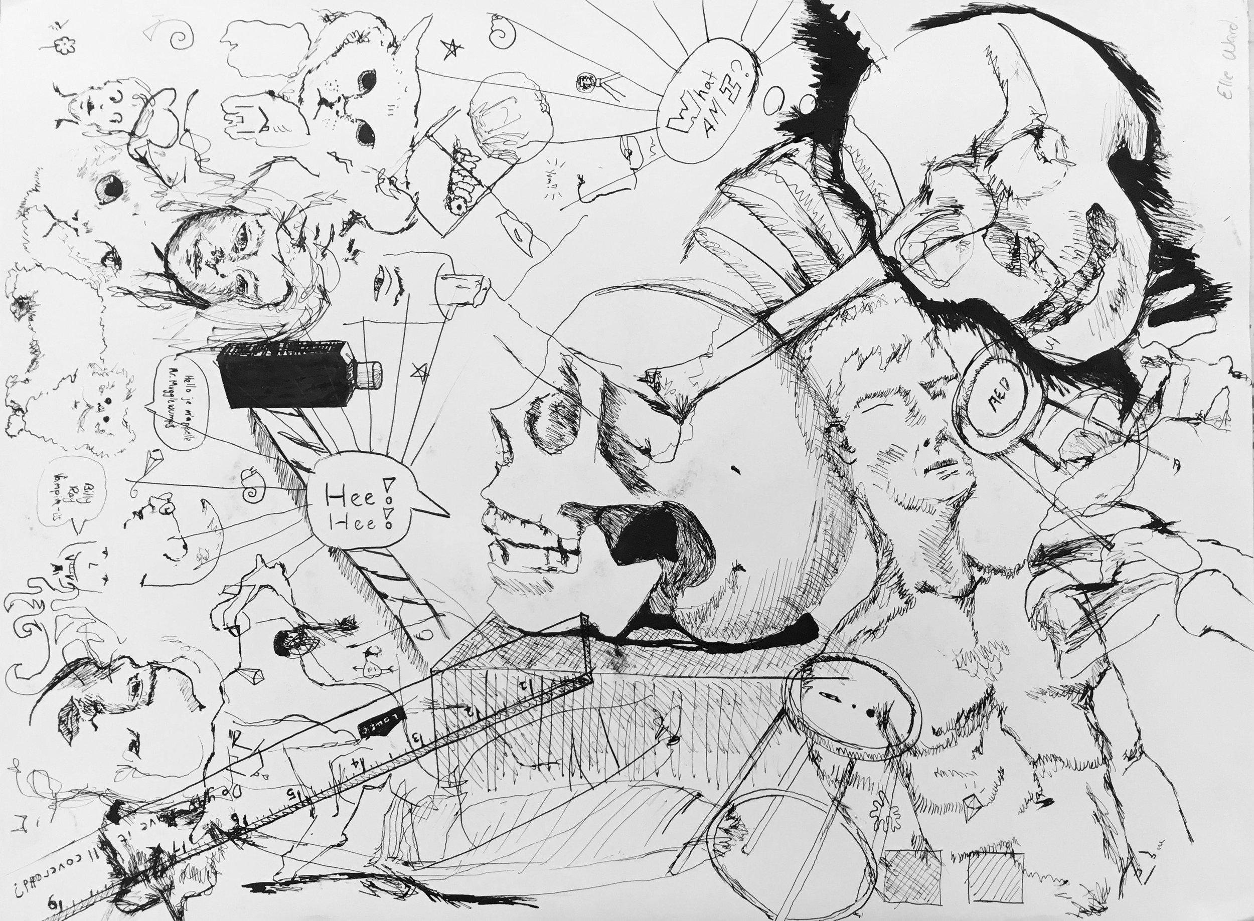 mosh, 2017  sumi ink on paper