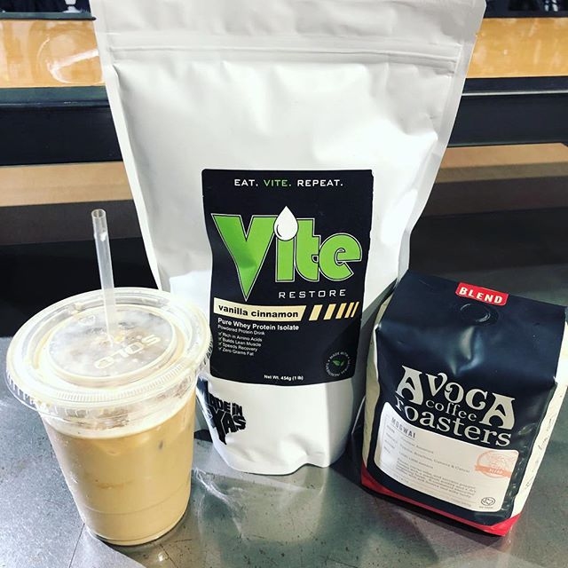 There's a new #recovery drink in town. #madeintexas @vitenutrition vanilla cinnamon whey protein isolate paired with @avocacoffeeroasters makes a tasty post ride #icedlatte or #coldbrew . @cadencecyclerykeller @cadencecyclery #bikesandcoffee #bikes #coffee #cycling #protien #nutrition