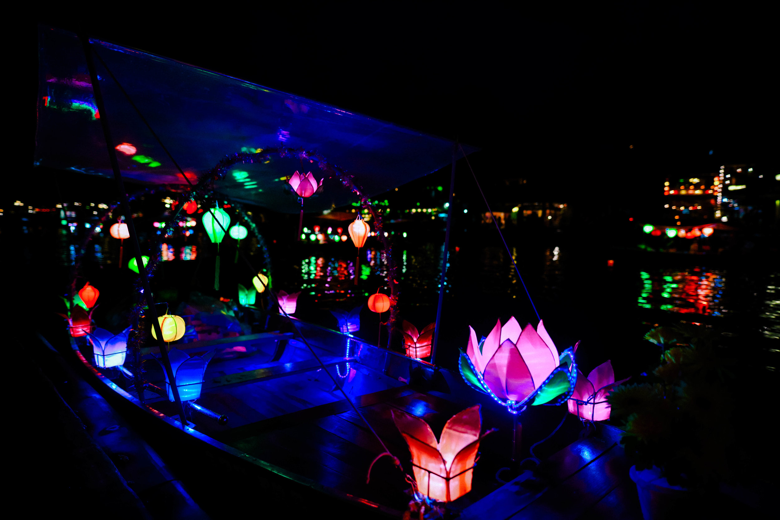 Lit boats in Hoi An