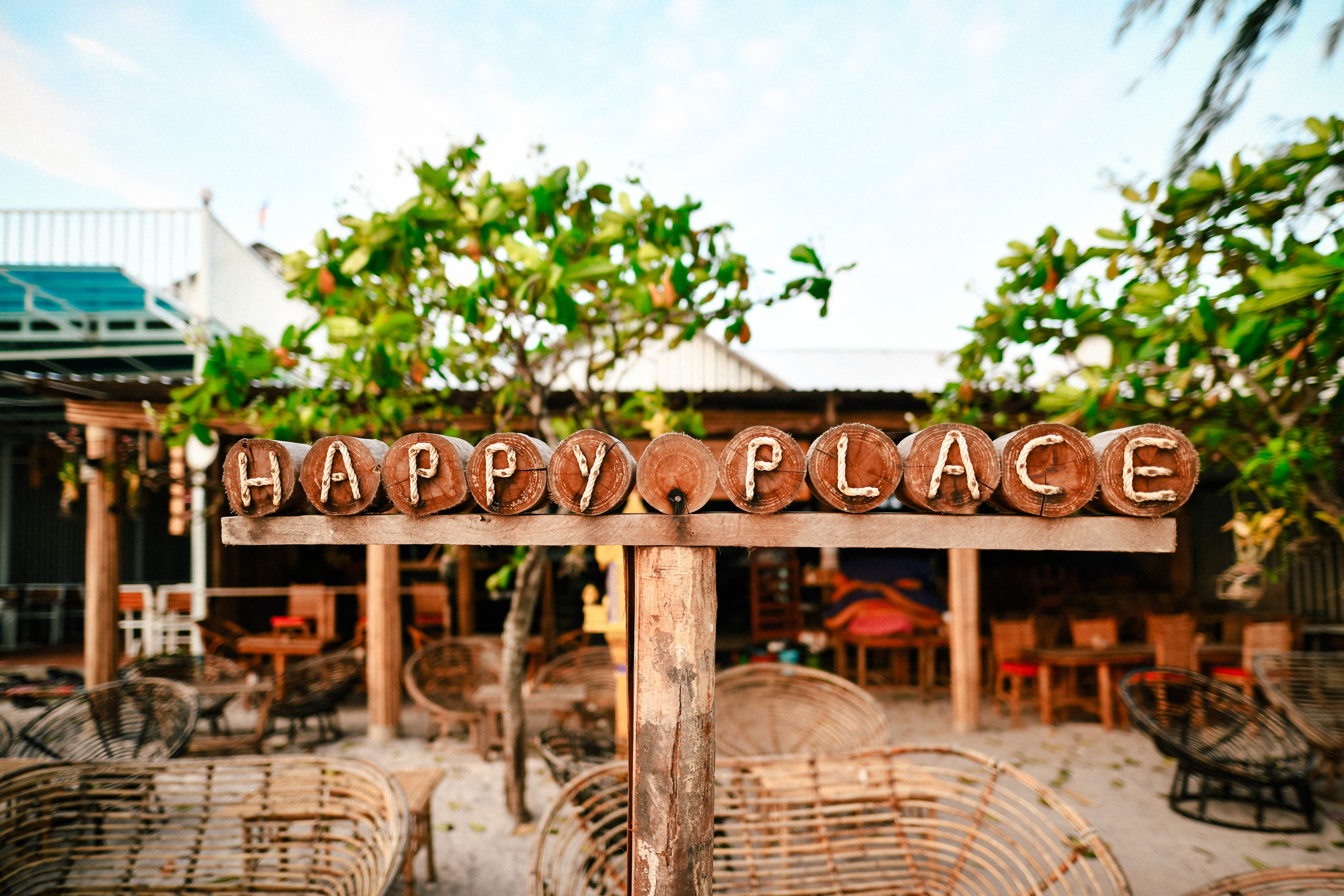 Happy place sign in Cambodia