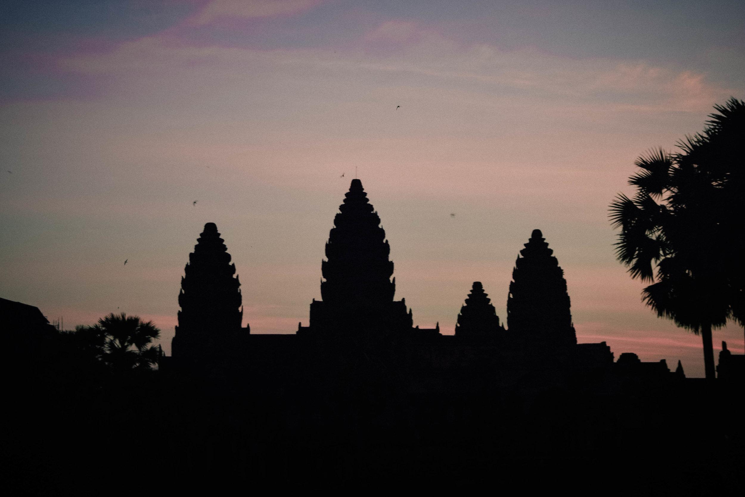 Sunrises spires in Angkor