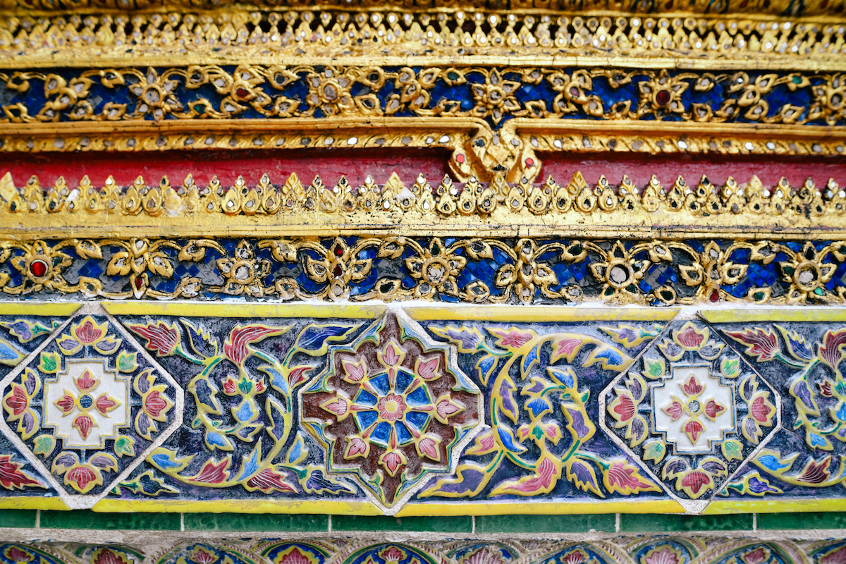 pattern detail on a temple in thailand