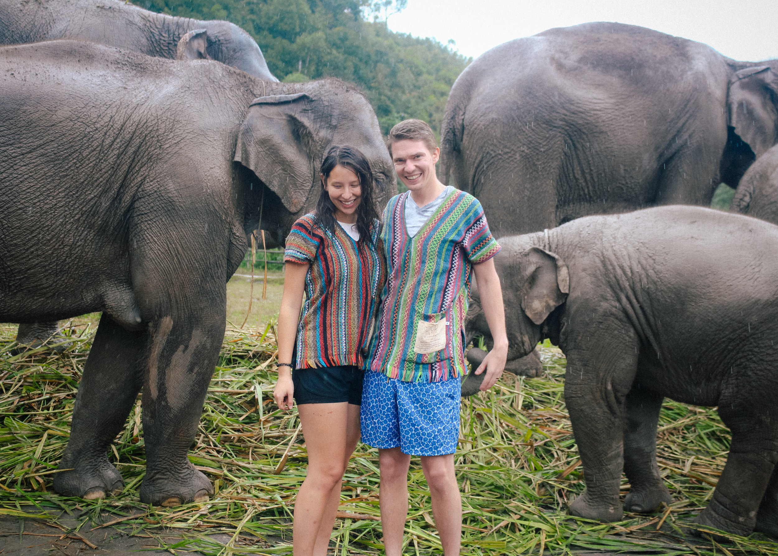 Peter and I with the elephants