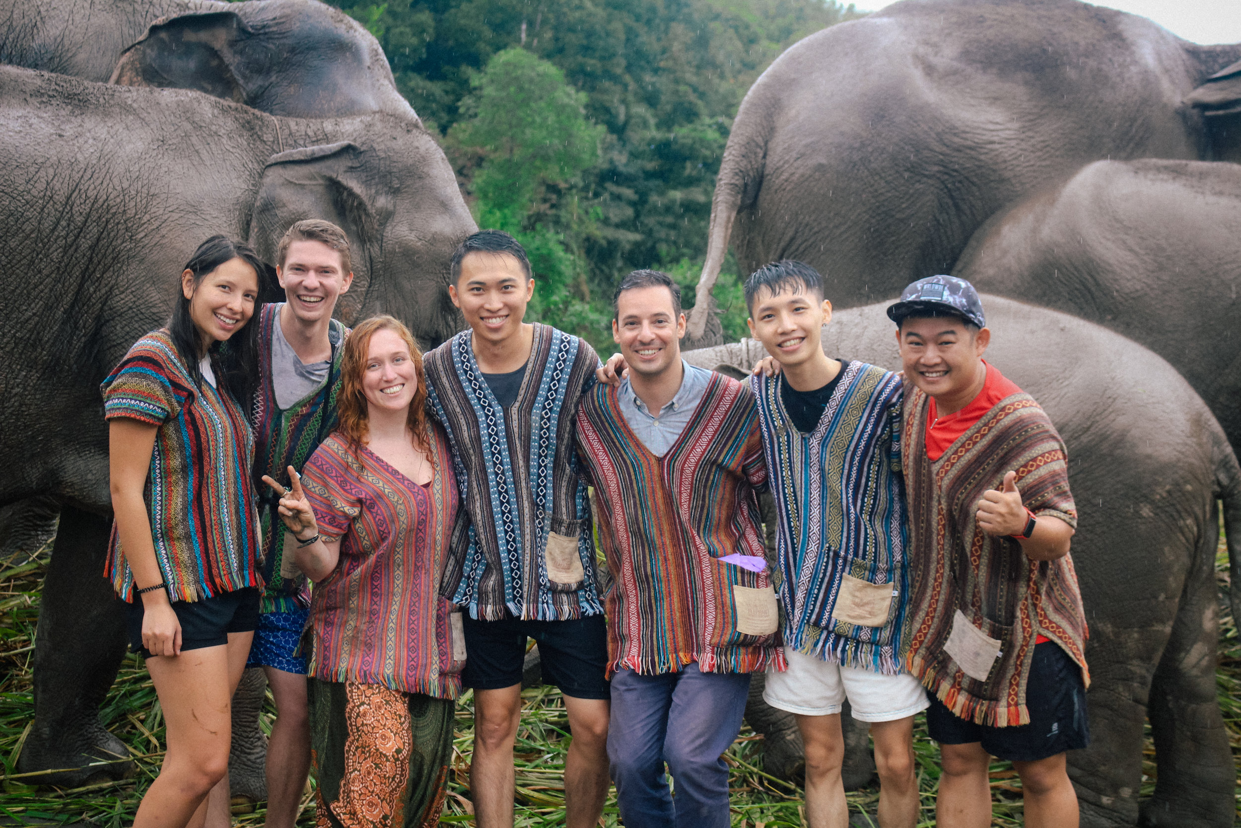 Group photo at the Chiang Mai Elephant Sanctuary