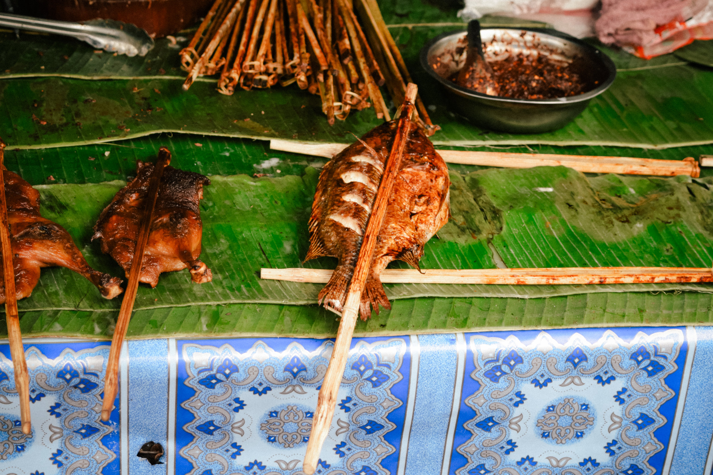 skewered fish in Laos