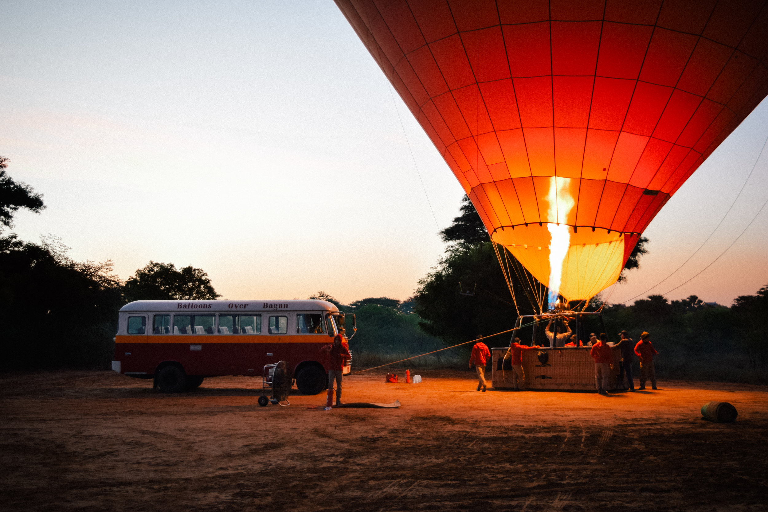 A bus and a balloon in Myanmar