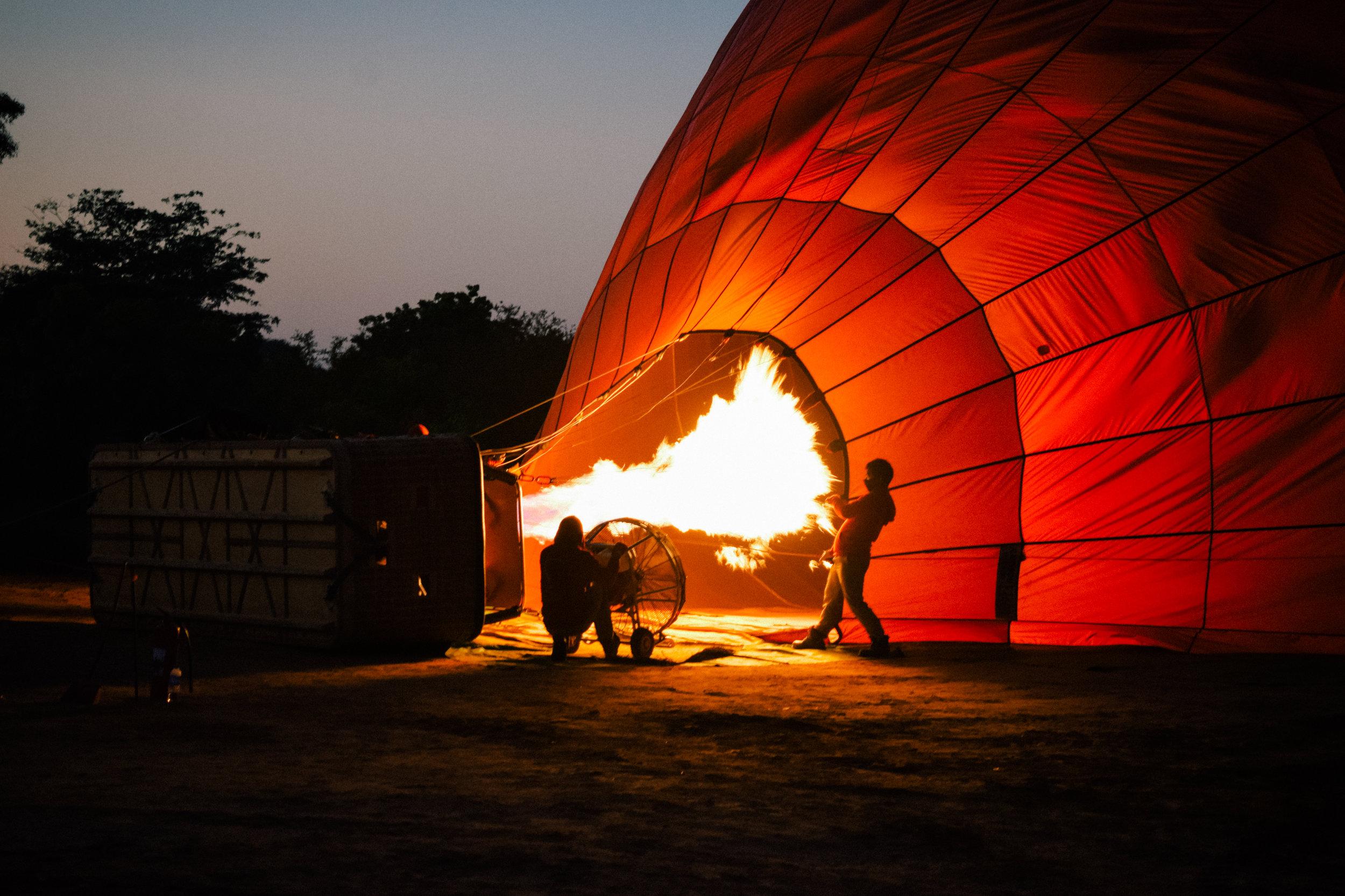 fire in balloons in bagan, myanmar