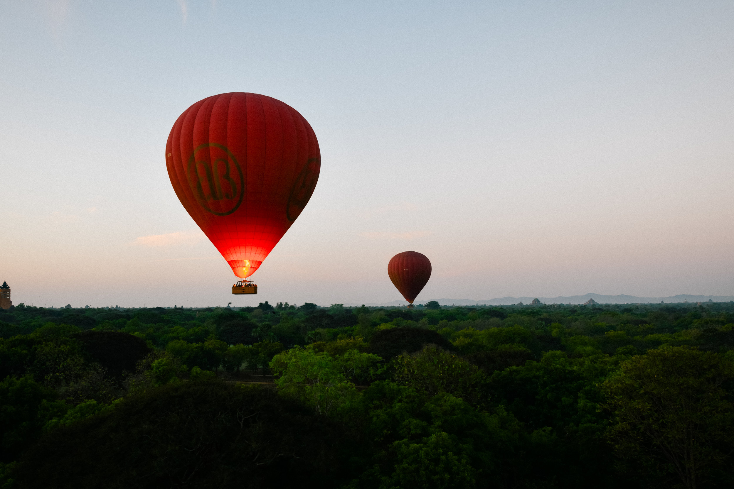 Balloon moving upward in Bagan