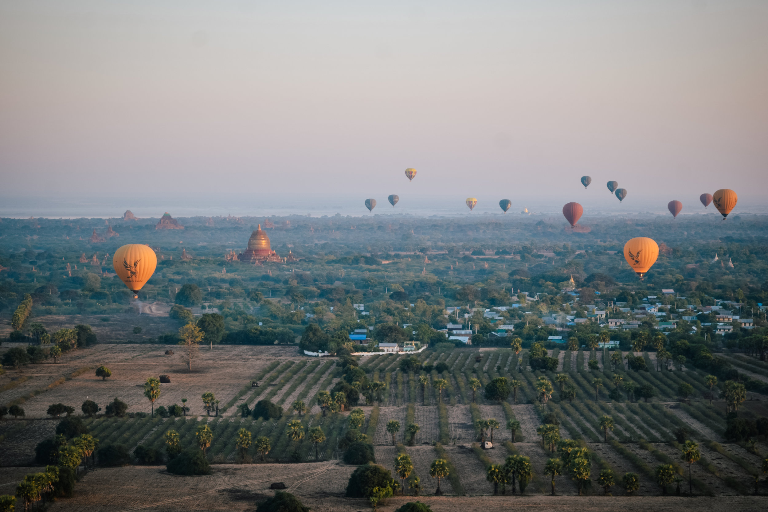 Temples and balloons in Bagan, Myanmar