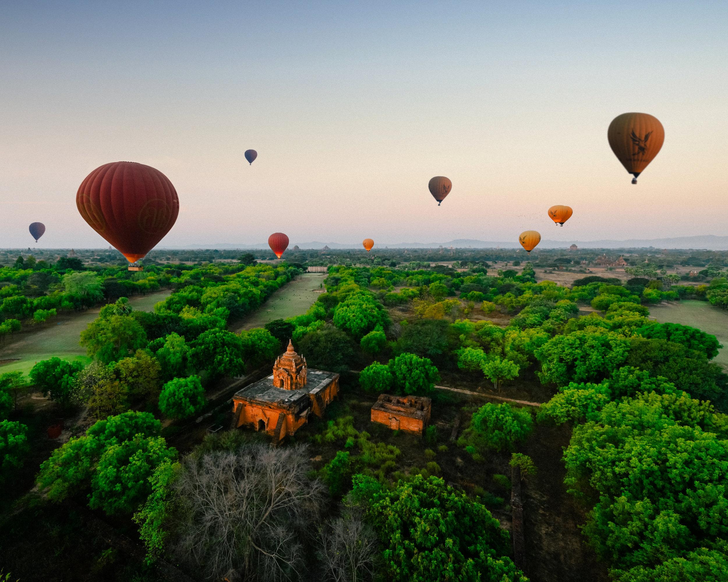 Myanmar - balloons in Bagan and a pagoda