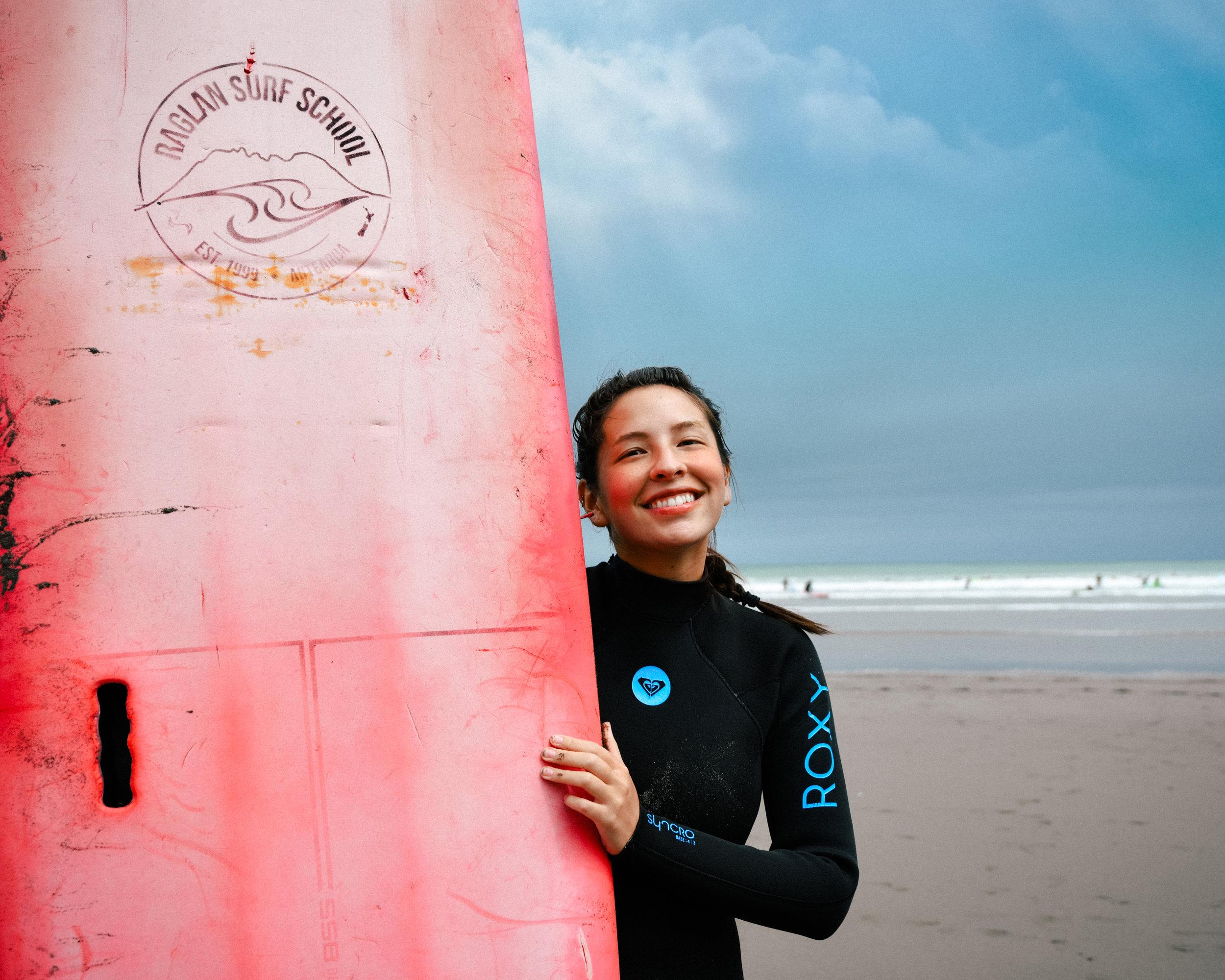 Surfing in Raglan