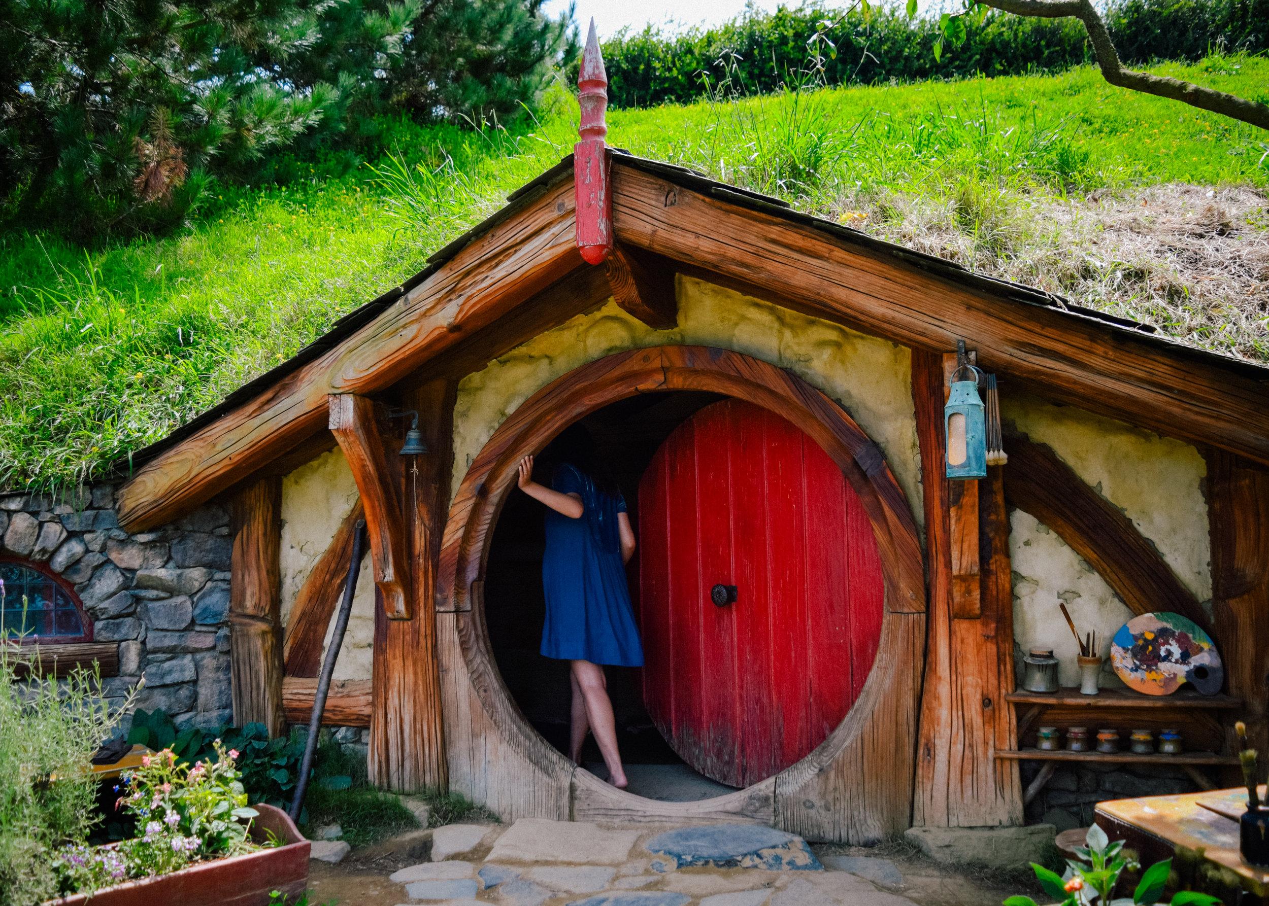 A red door in Hobbiton