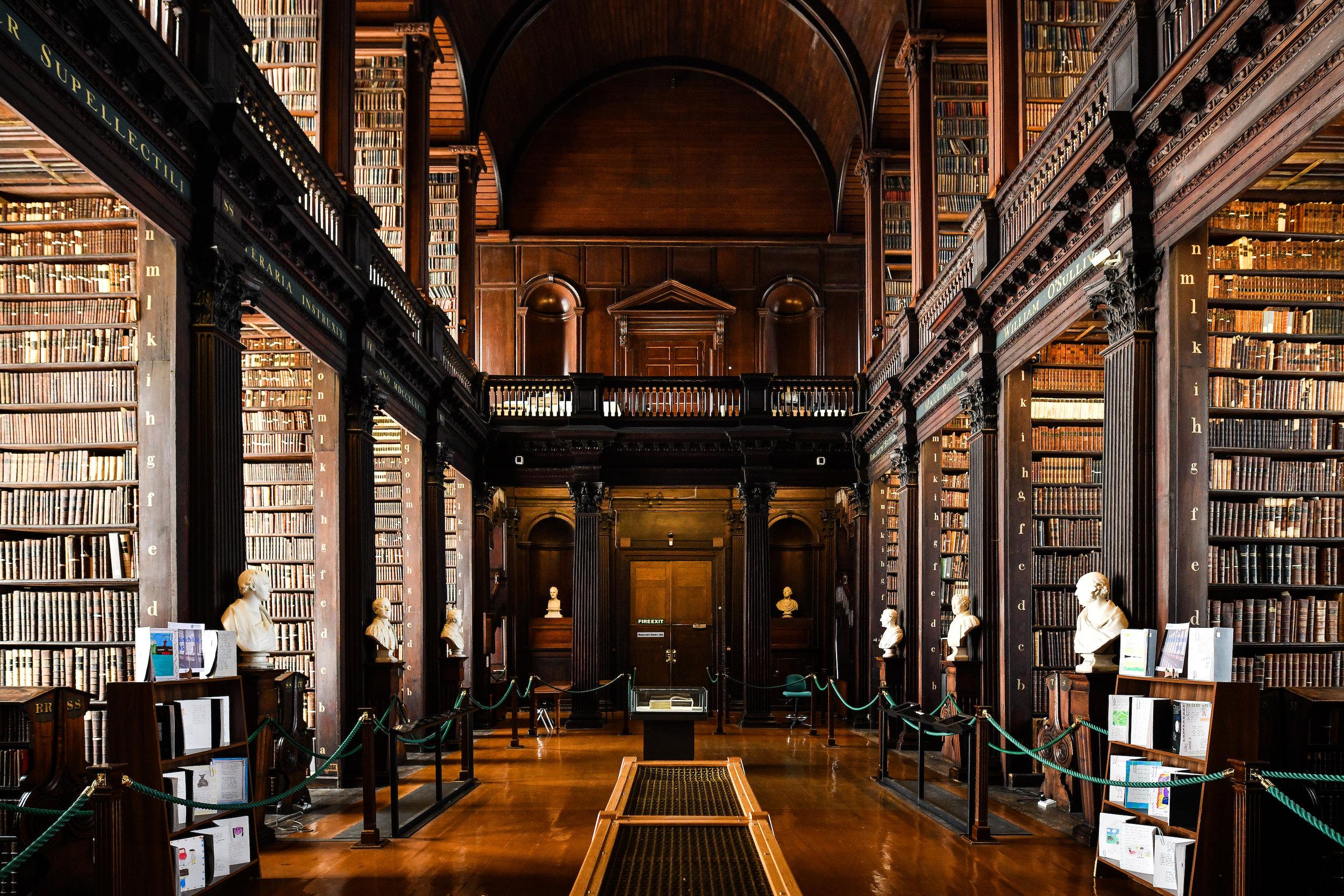 The beautiful trinity library in Dublin