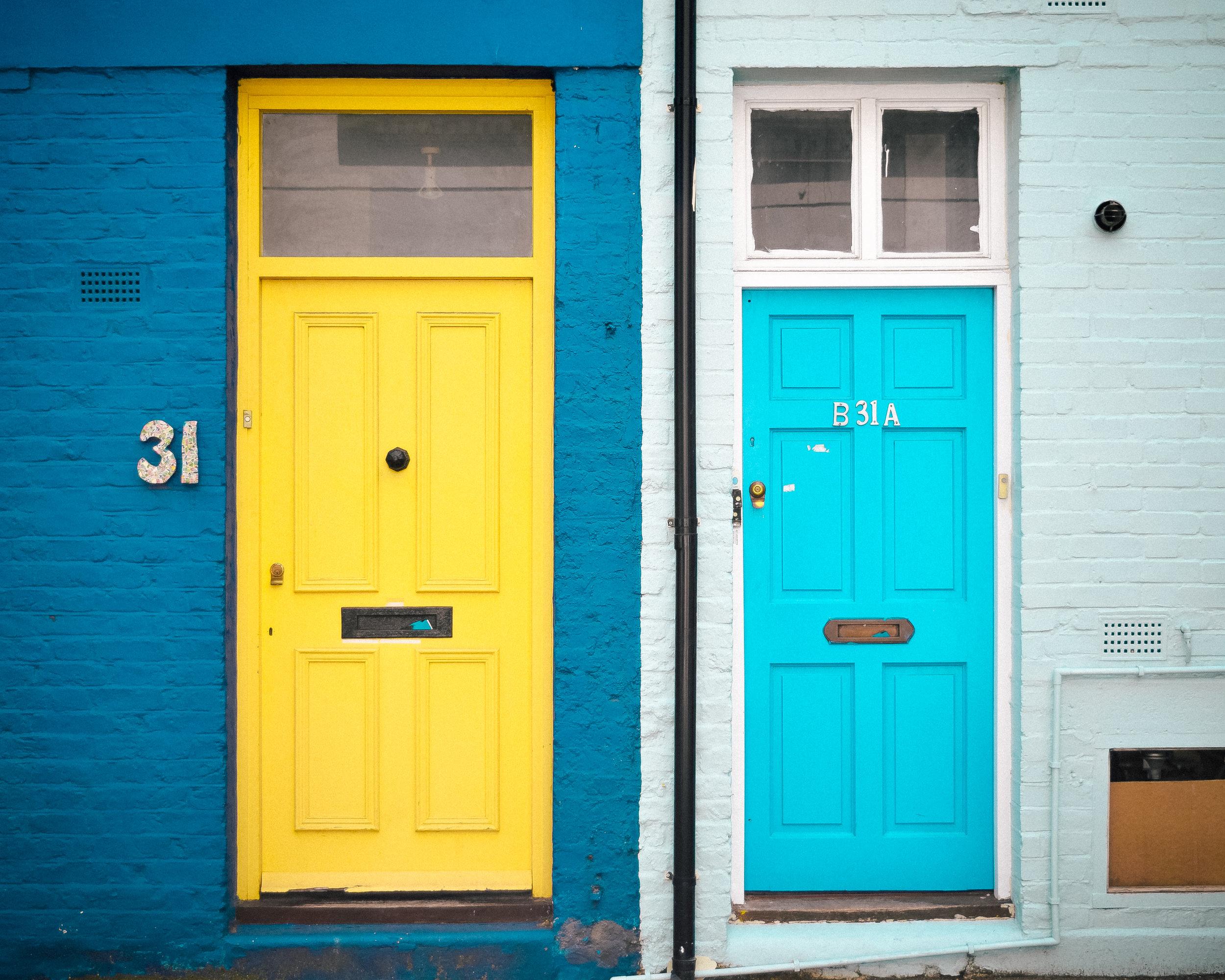 Cute doors in the alley of mews