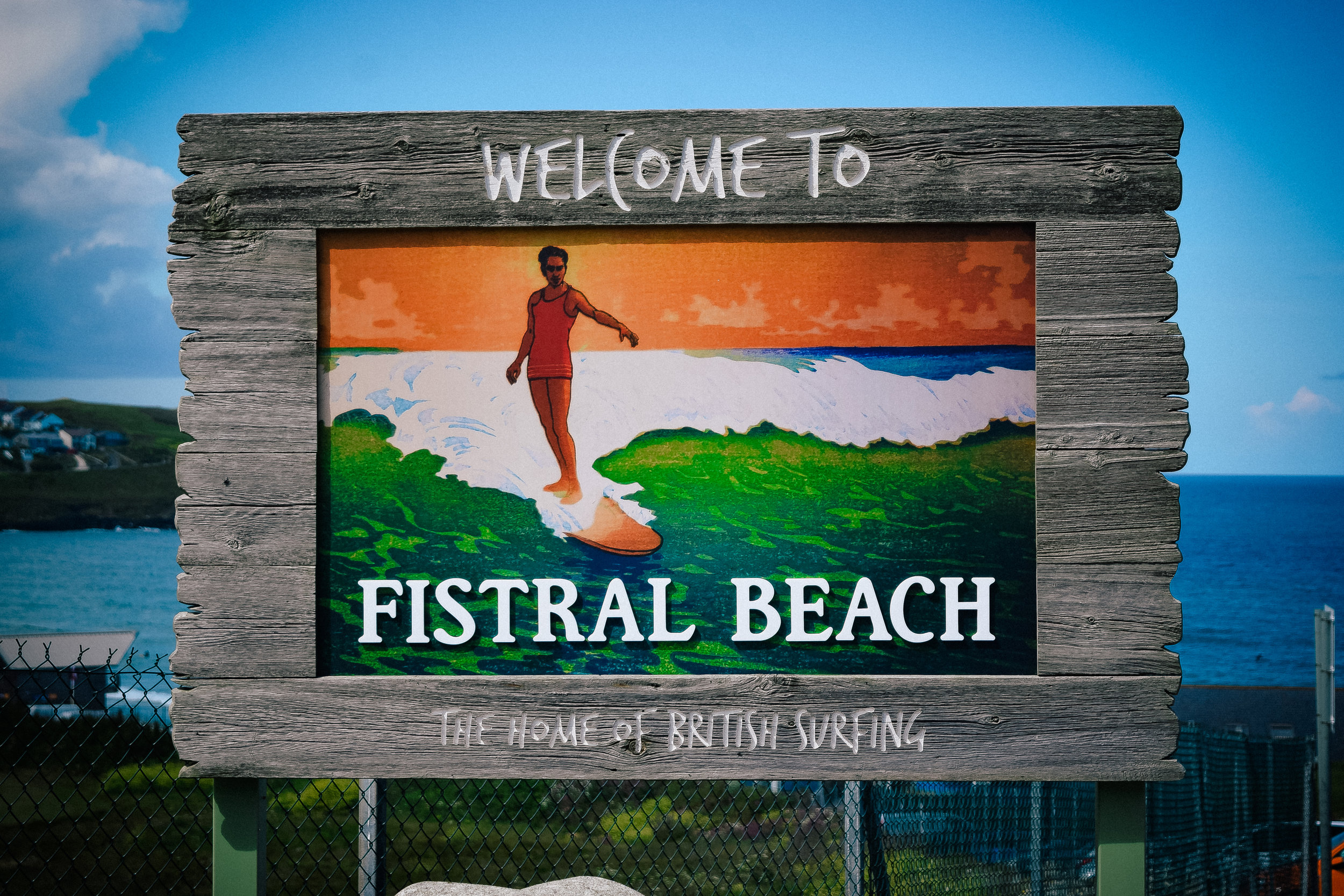 fistral beach sign in newquay