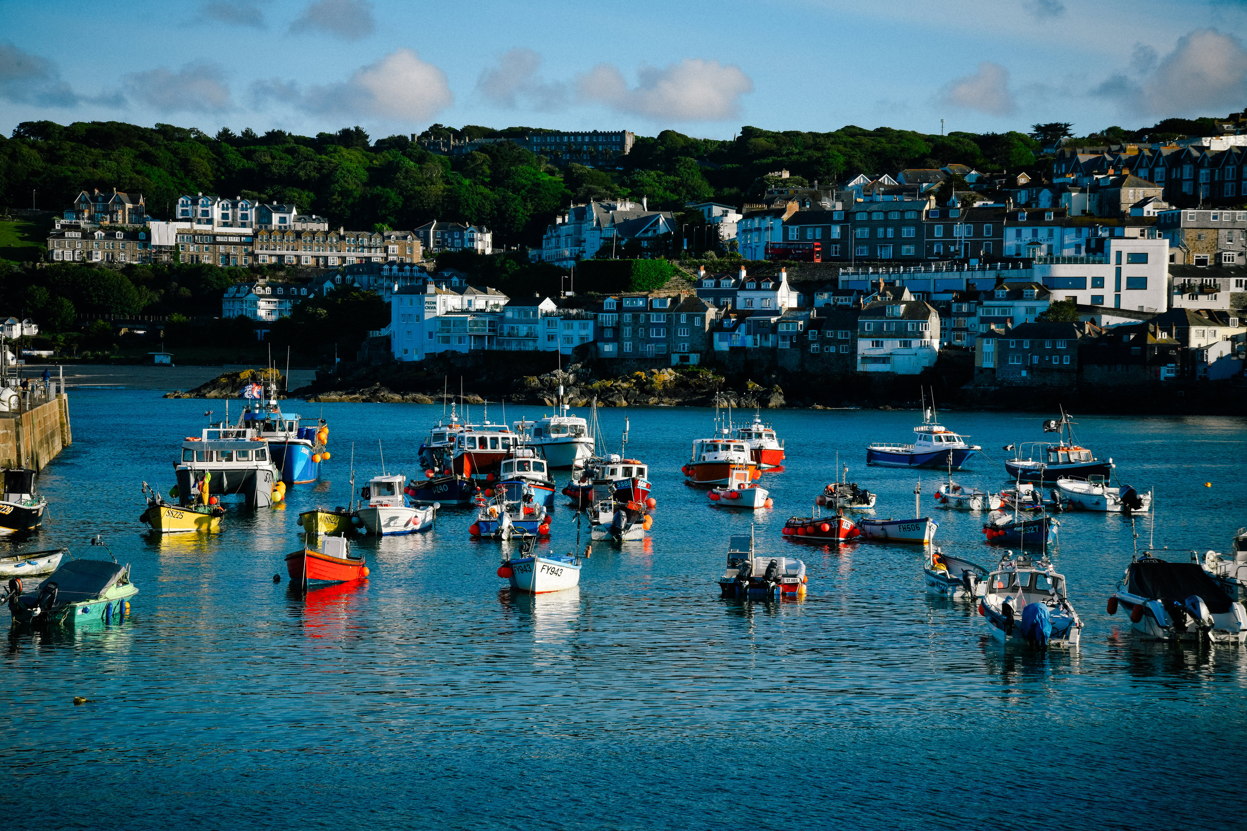boats in the dock in st. ives