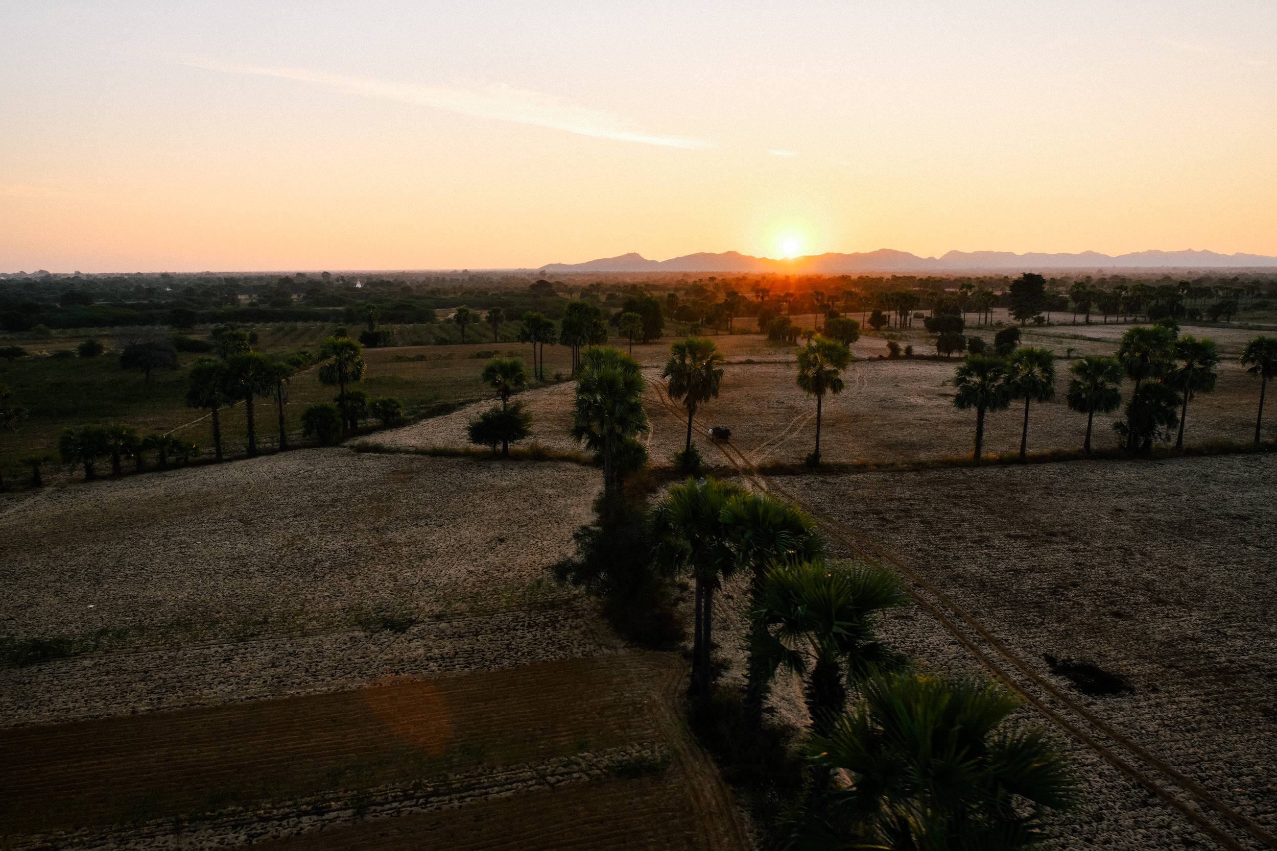 sunrise view from a hot air balloon in Myanmar