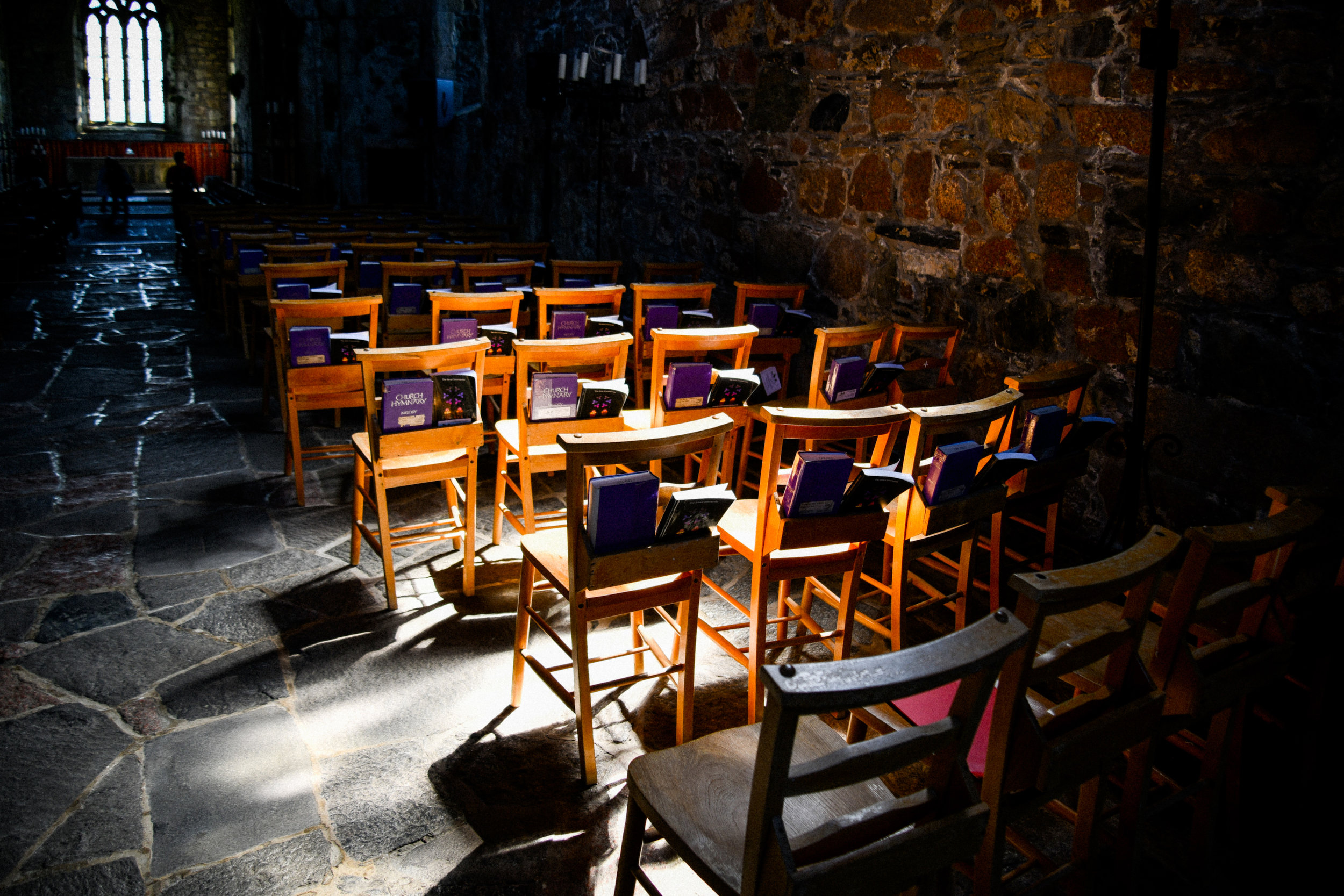 chairs from inside the abbey