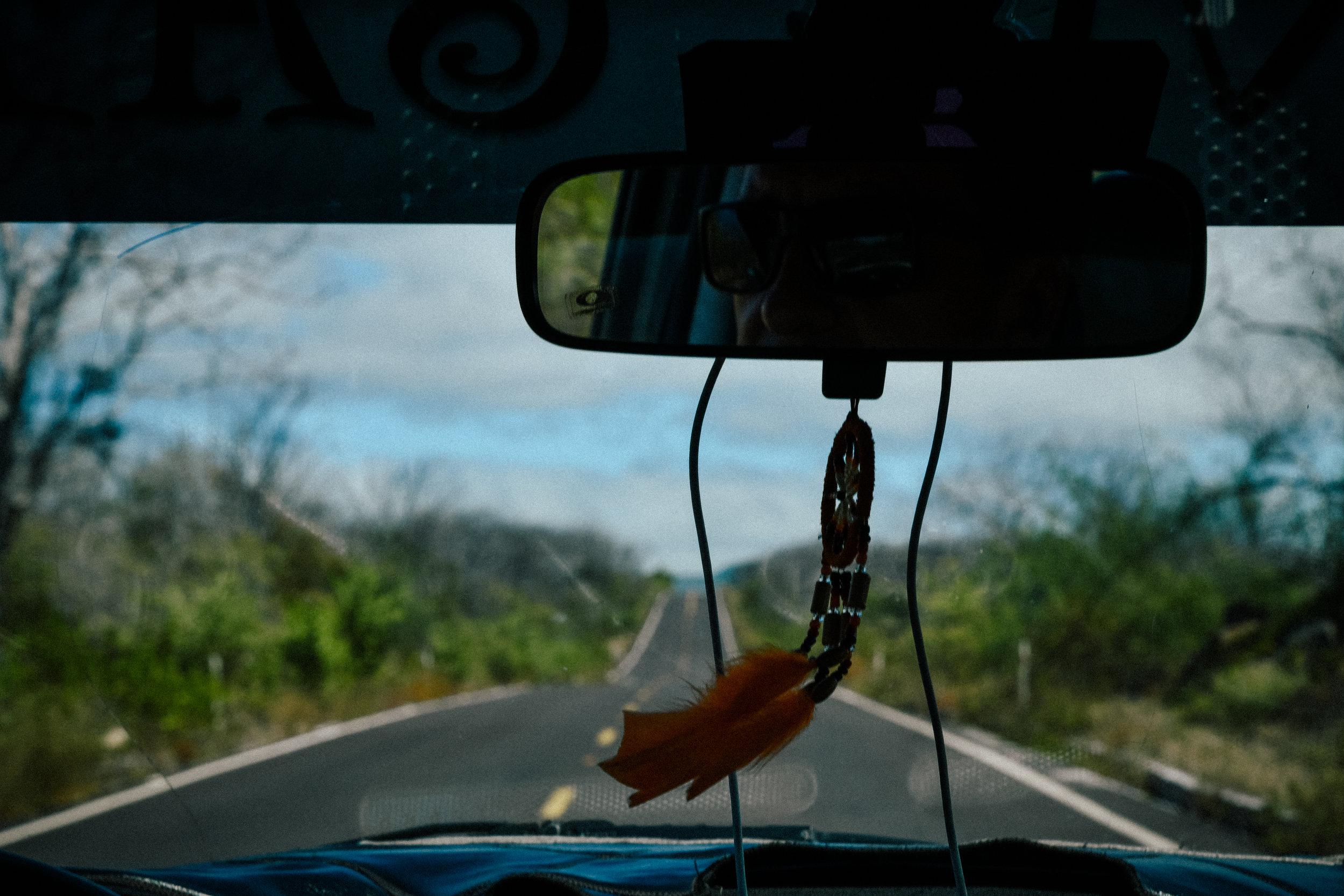 In the cab across Isla Santa Cruz, Galapagos