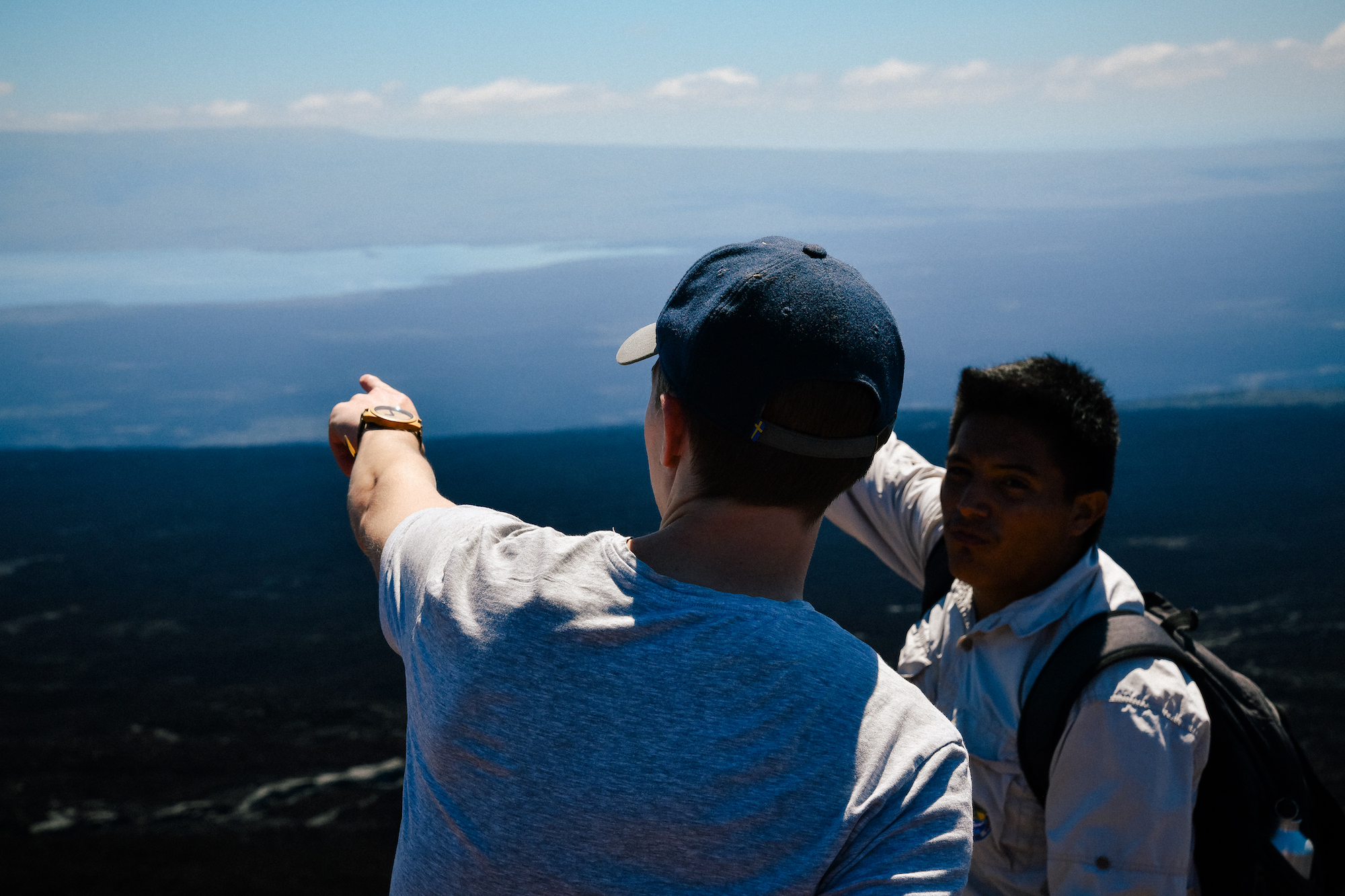 peter and our guide lookin out at some VOLCANOES