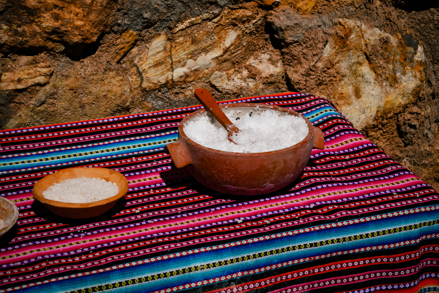 natural salt from the river in maras, peru