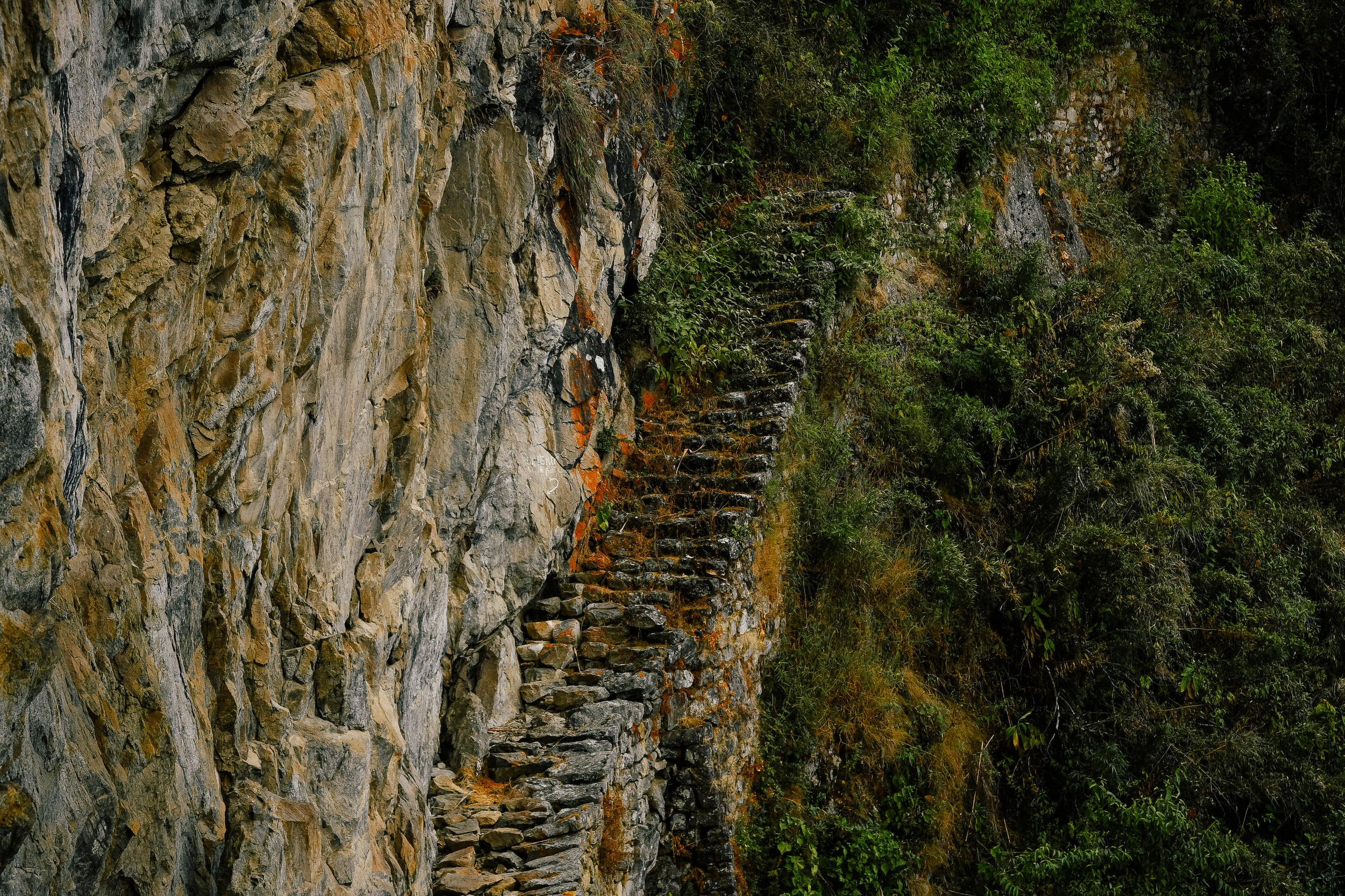 inca trail steps along the mountain