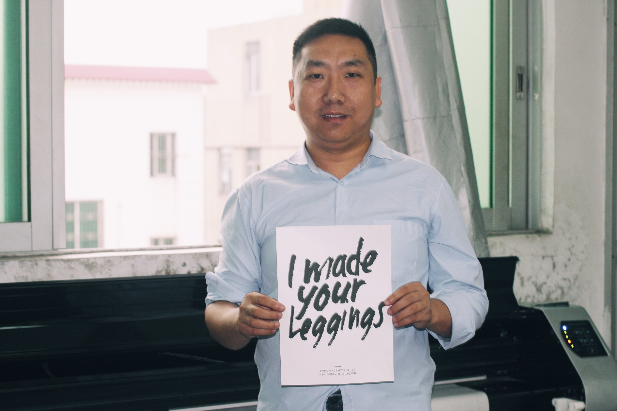 Yongzhong, pattern maker, who helps us make our designs fit to your body.