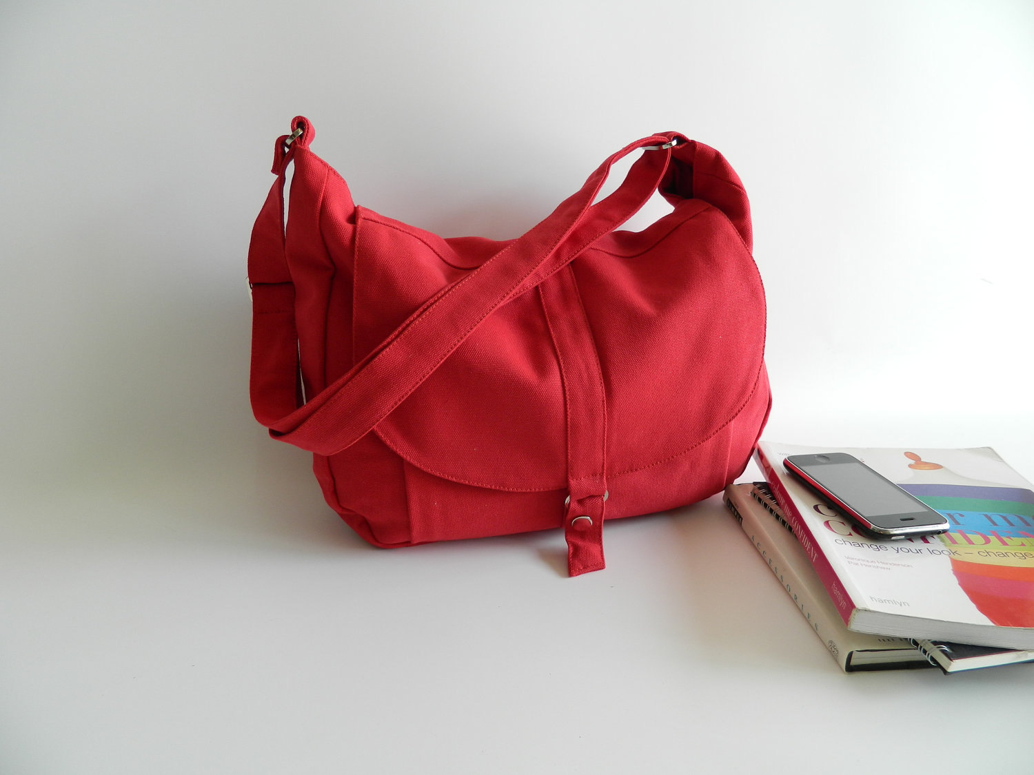 KYLIE 12 Red Messenger Bag with Books.jpg