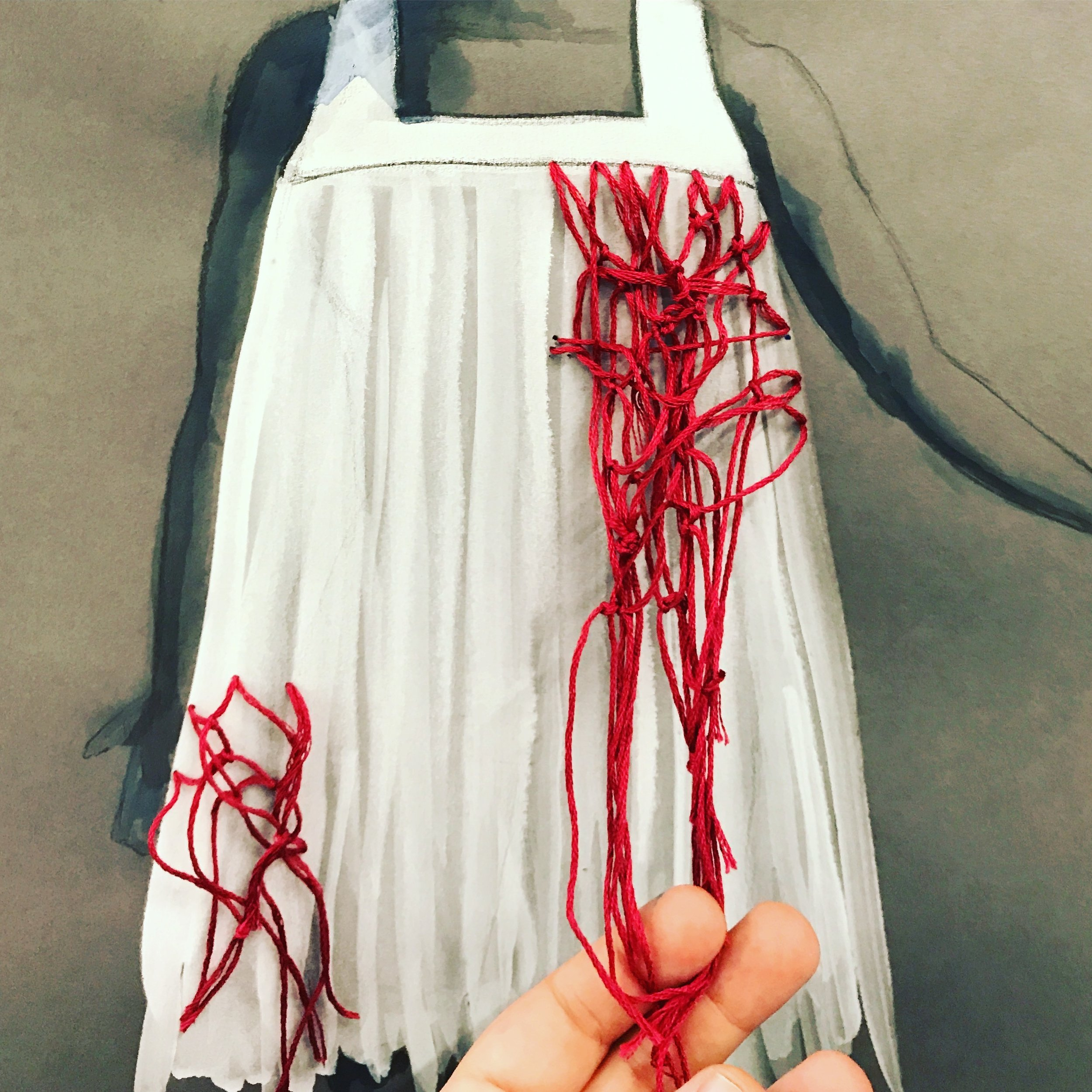 """Detail of Rendering for """"Norns and Norns""""- University of Washington MFA Dance Concert, Spring 2018  (Charcoal, Ink, Red Embroidery Floss)"""