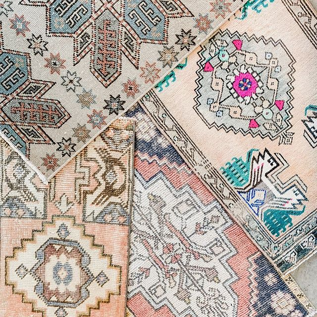 • new inventory • gorgeous new small-size Turkish rugs are in stock | DM to purchase or stop by our store to shop in person ✨
