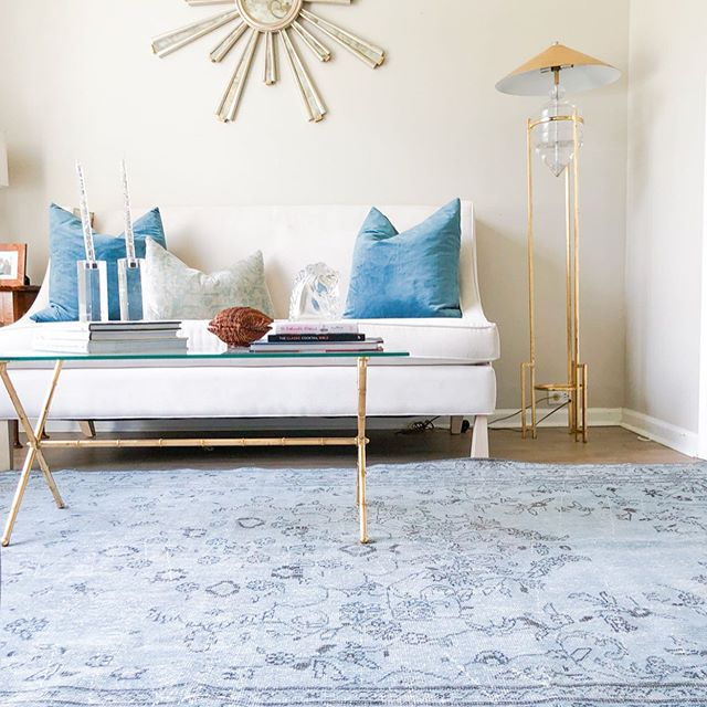 This gorgeous blue Turkish rug is still available | DM for details | staging & styling by @embellisheddwelling