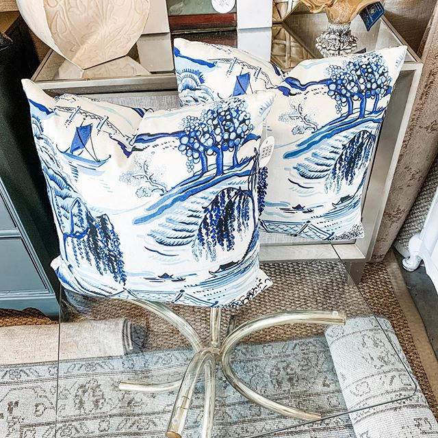 In love with these gorgeous blue & white pillows that hit the store today | and we have an incredible deal on these two large Turkish rugs