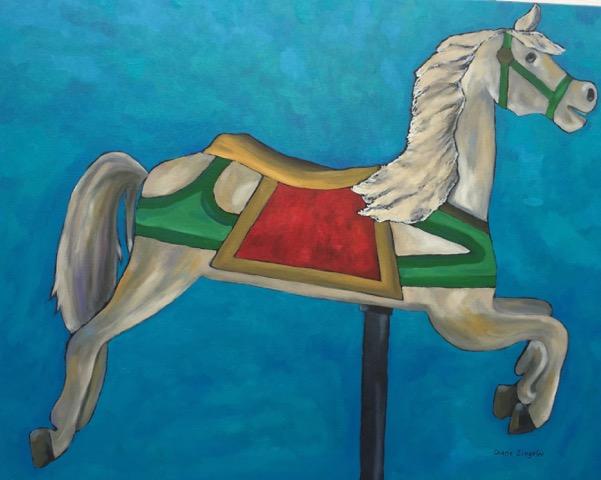 30'' w x 24'' h / Carousel horse / oil