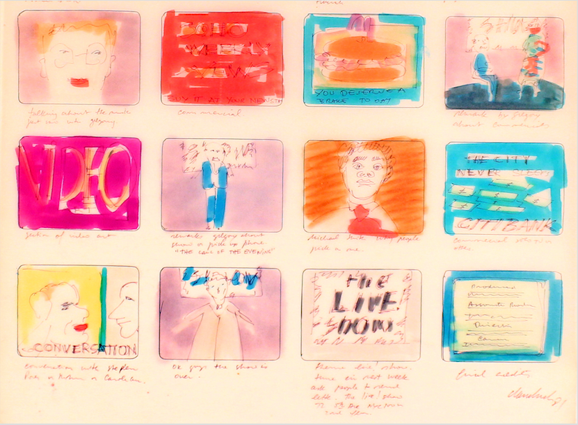 The Live! Show - Left: Jaime Davidovich,The Live! Show storyboard, 1982