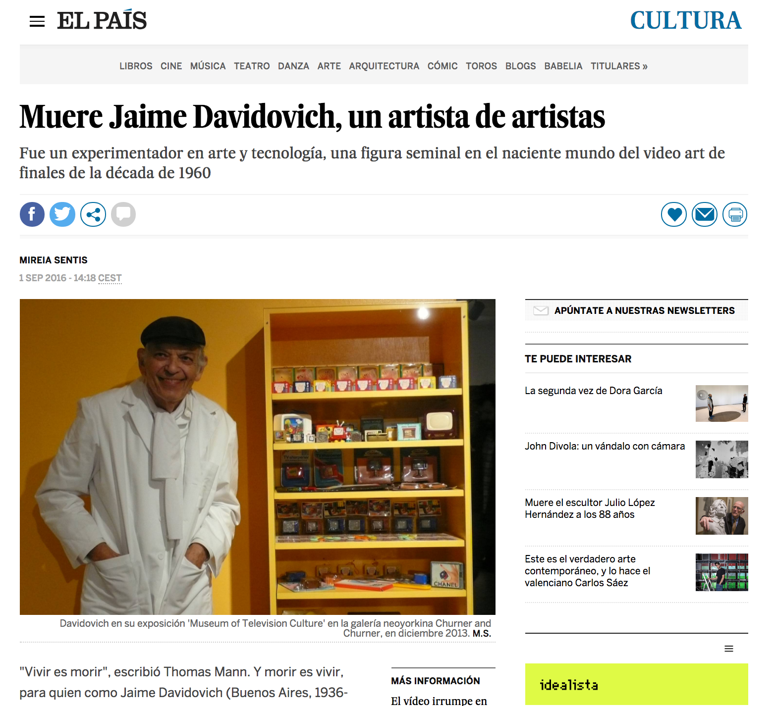 Muere Jaime Davidovich, un artista de artistas - El País - September 1, 2016
