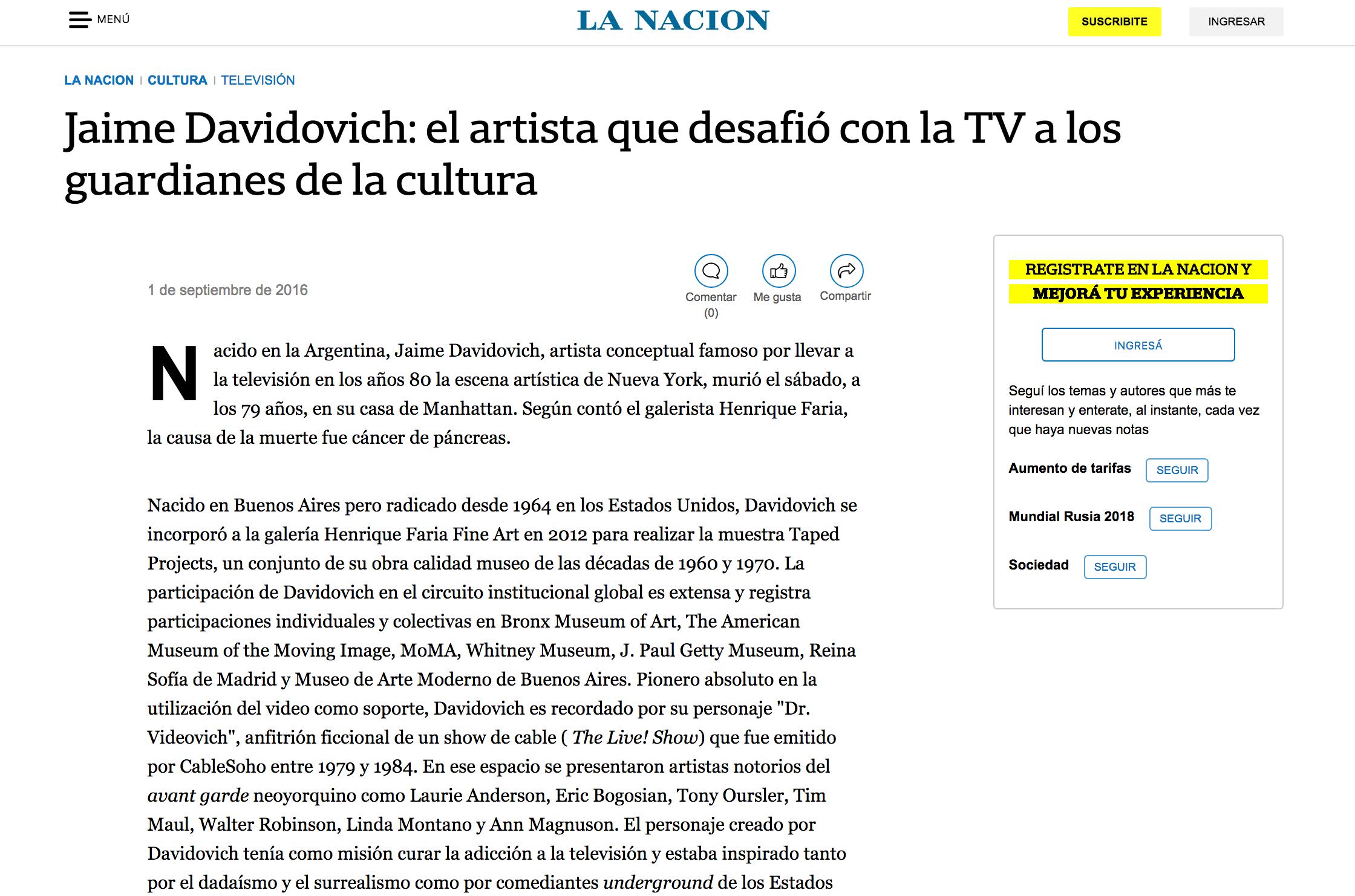 Jaime davidovich: el artista que desafió con la tv a los guardianes de la cultura - La Nación - September 1, 2016
