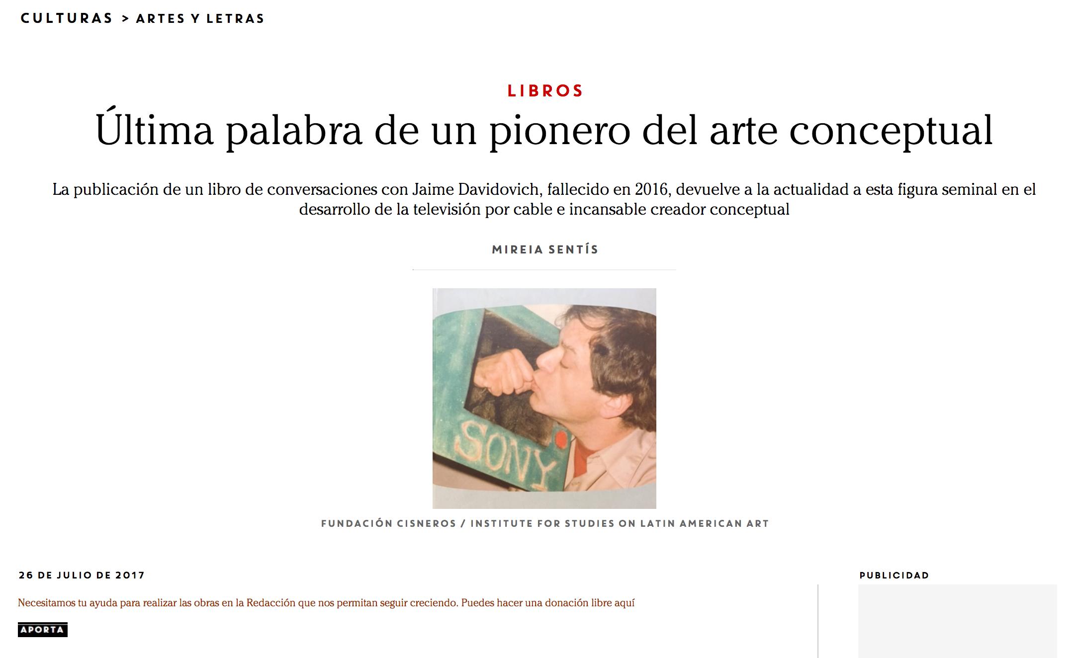 Última palabra de un pionero del arte conceptual - Revista Contexto - June 26th, 2017