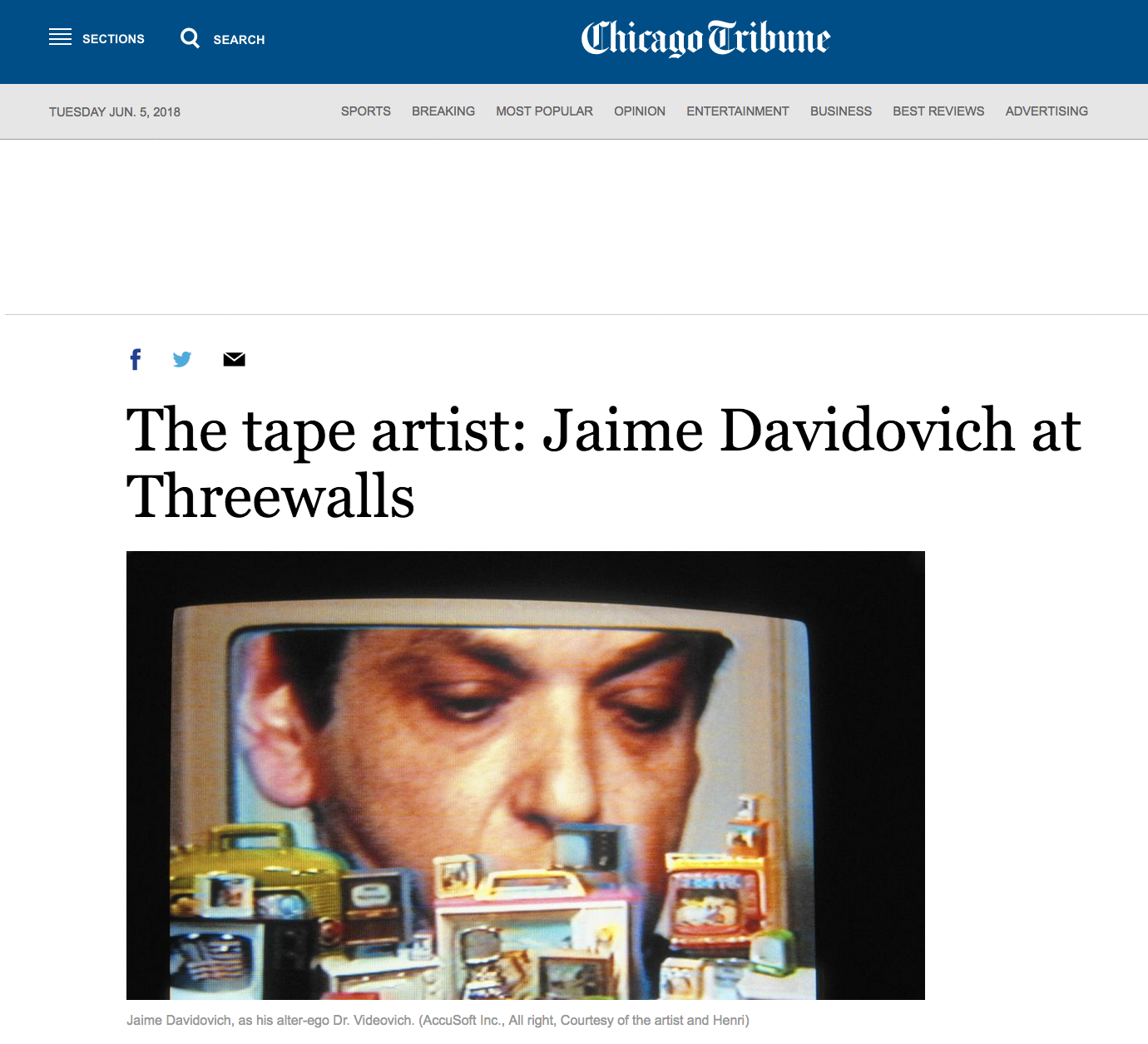 The tape artist: Jaime Davidovich at Threewalls - Chicago Tribune - March 19, 2015