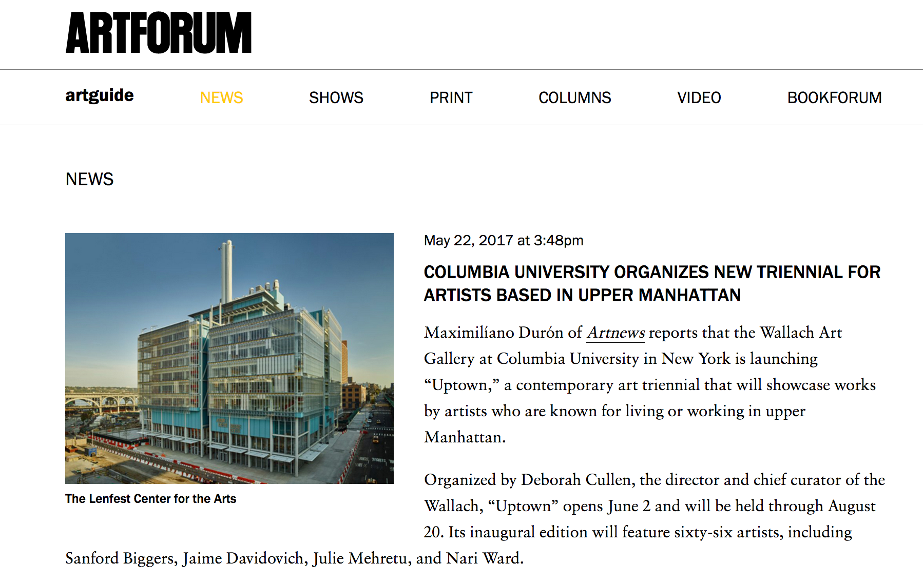Columbia University Organizes New Triennial for Artists Based in Upper Manhattan - Artforum - May 22, 2017