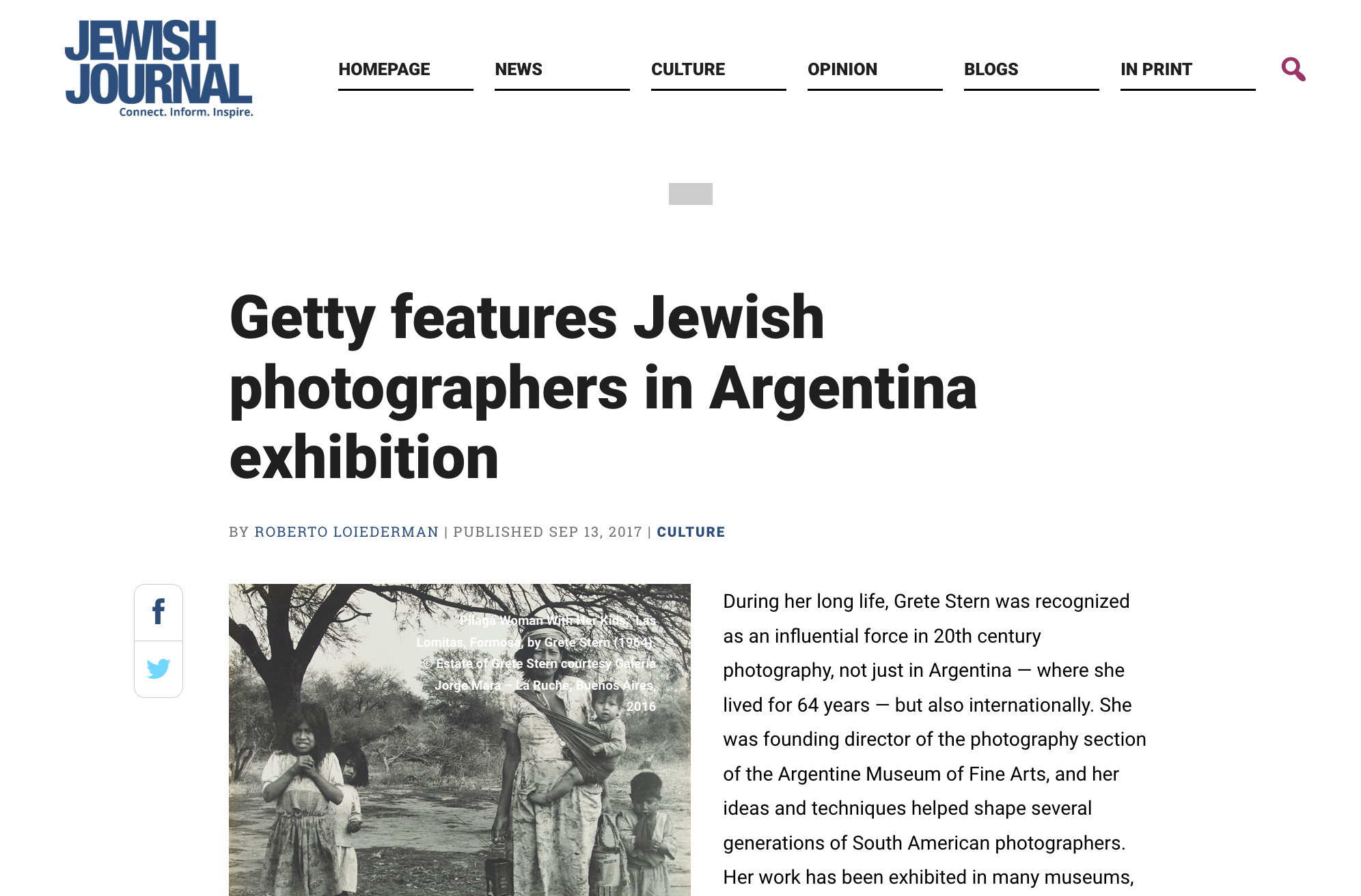 Getty features Jewish photographers in Argentina exhibition - Jewish Journal - September 13, 2017
