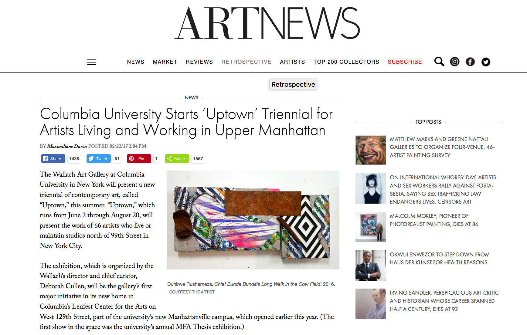 Columbia University Starts 'Uptown' Triennial for Artists Living and Working in Upper Manhattan - Artnews - May 22, 2017