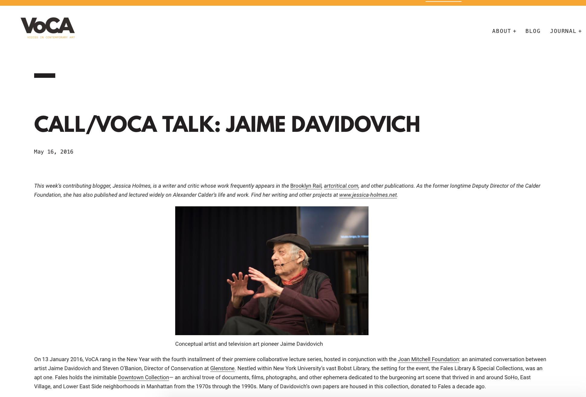 Call/voca talk: jaime davidovich - Voca Network - May 15, 2016